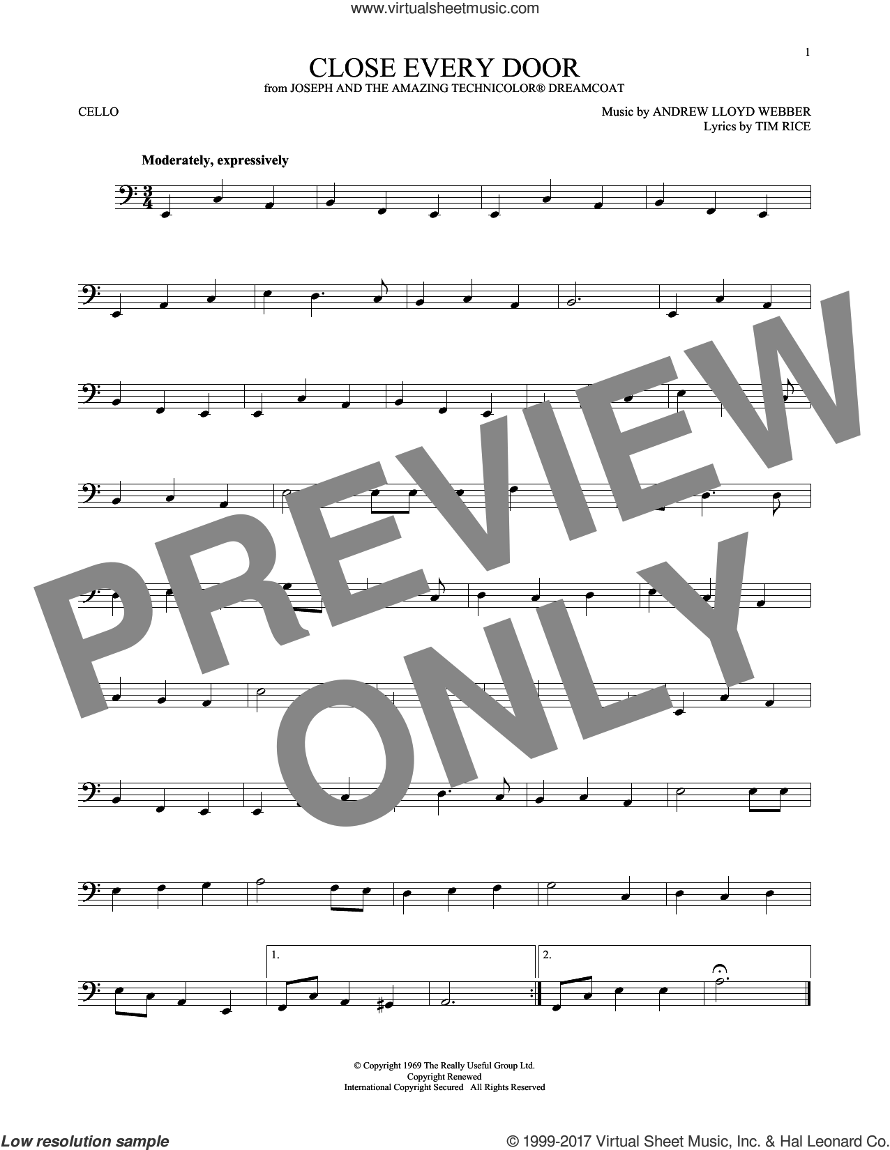 Close Every Door sheet music for cello solo by Andrew Lloyd Webber and Tim Rice, intermediate skill level