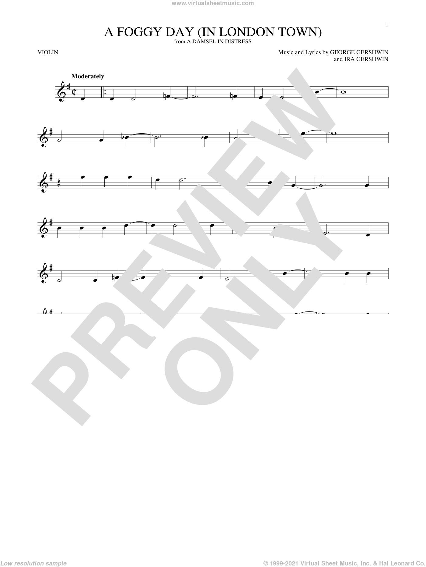 A Foggy Day (In London Town) sheet music for violin solo by George Gershwin and Ira Gershwin, intermediate skill level