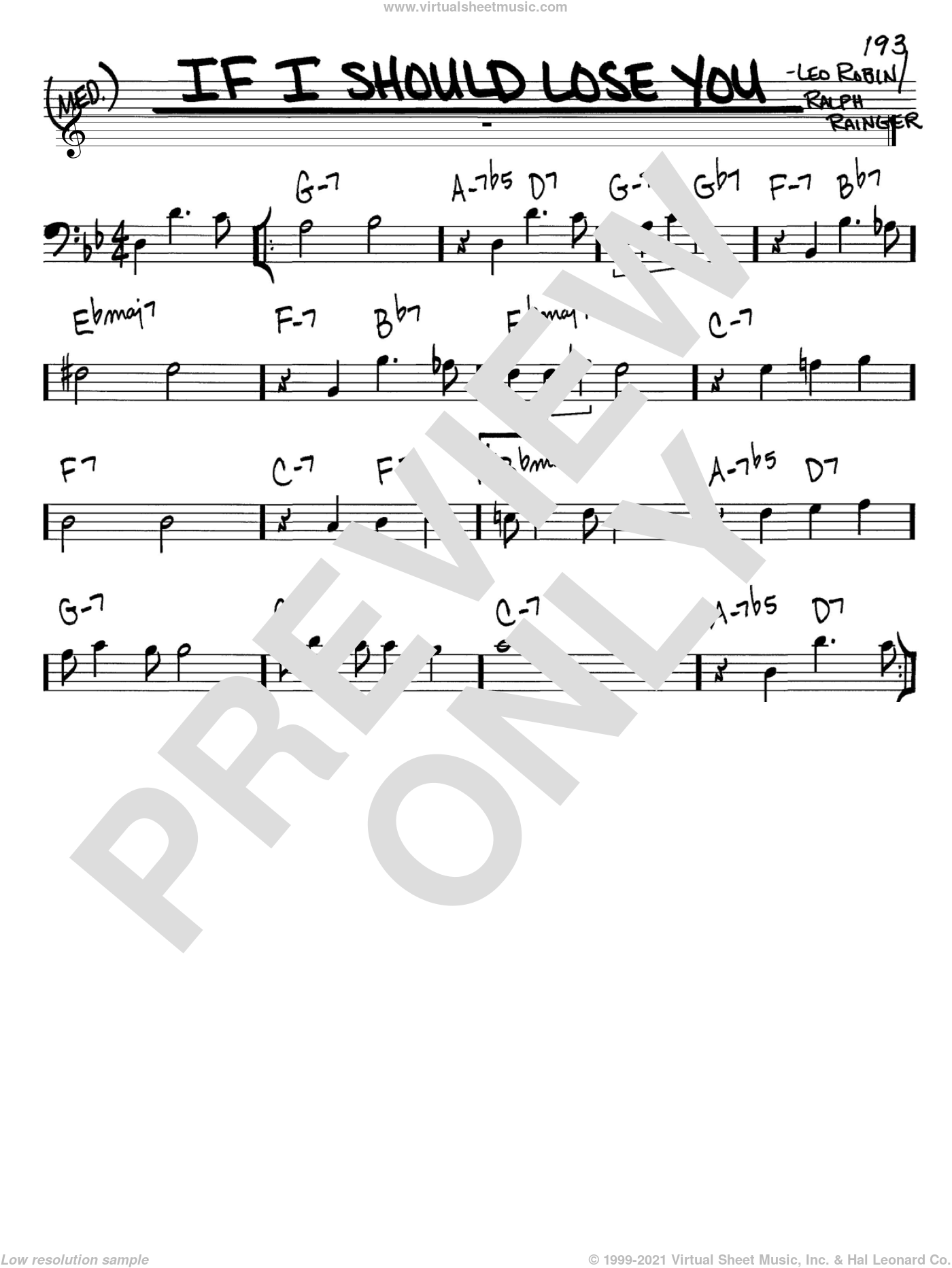 If I Should Lose You sheet music for voice and other instruments (Bass Clef ) by Leo Robin and Ralph Rainger. Score Image Preview.