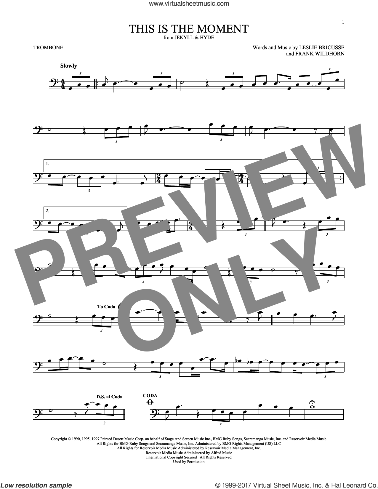 This Is The Moment sheet music for trombone solo by Leslie Bricusse and Frank Wildhorn, intermediate skill level