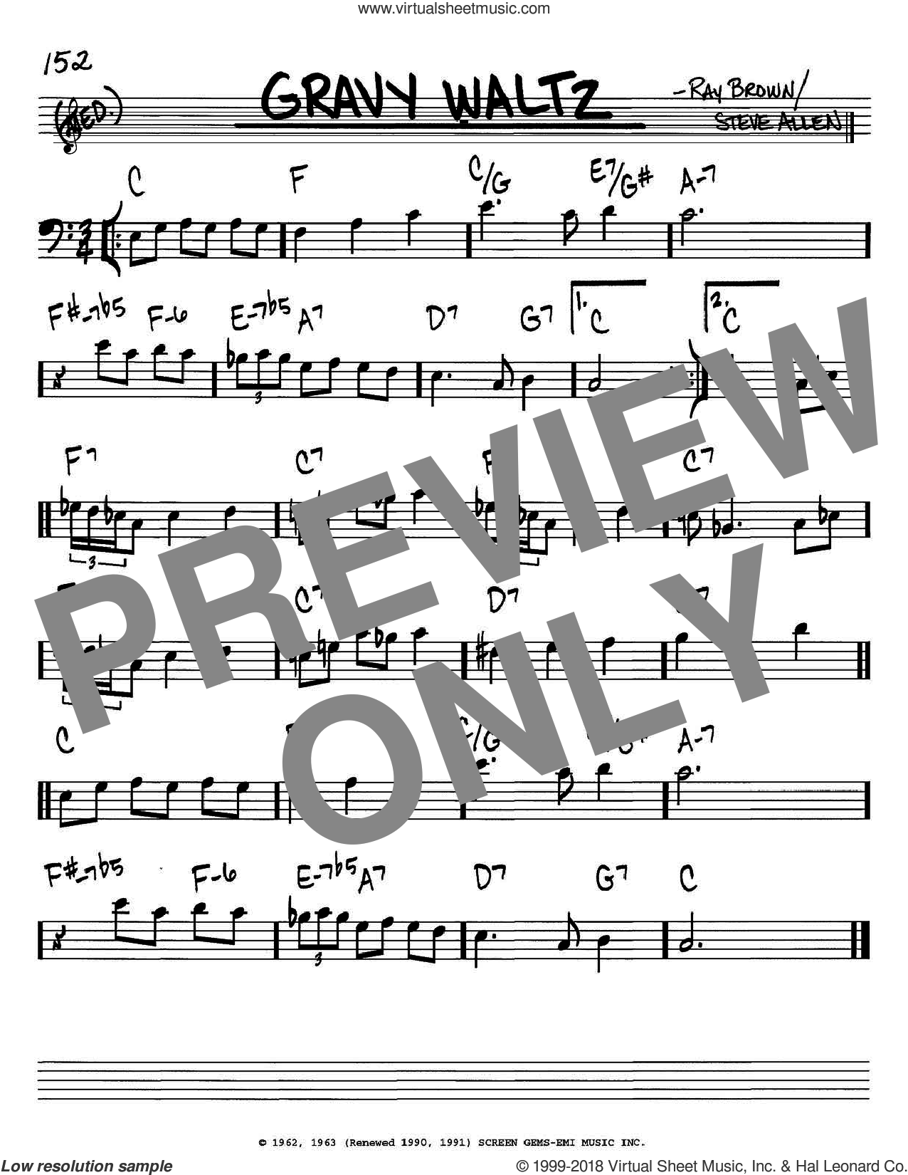 Gravy Waltz sheet music for voice and other instruments (Bass Clef ) by Ray Brown and Steve Allen