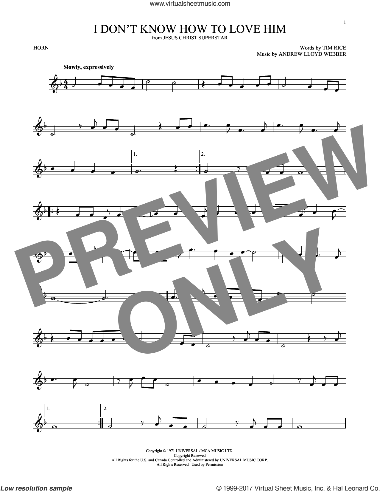 I Don't Know How To Love Him (from Jesus Christ Superstar) sheet music for horn solo by Andrew Lloyd Webber, Helen Reddy and Tim Rice, intermediate skill level