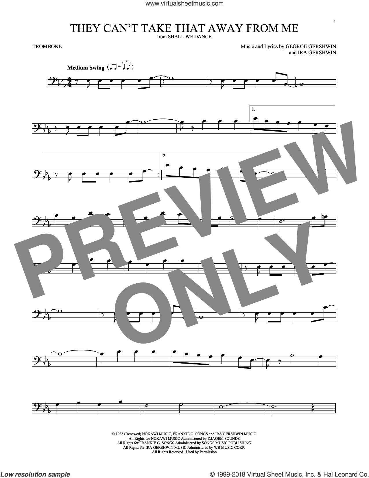 They Can't Take That Away From Me sheet music for trombone solo by Frank Sinatra, George Gershwin and Ira Gershwin, intermediate skill level