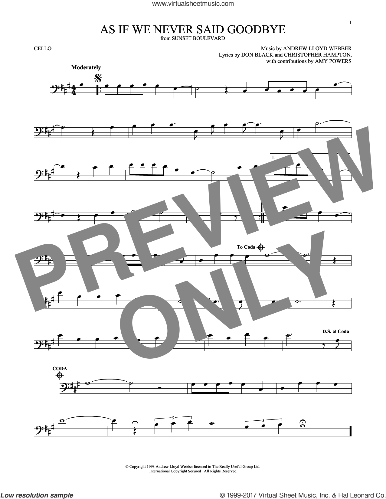 As If We Never Said Goodbye (from Sunset Boulevard) sheet music for cello solo by Andrew Lloyd Webber, Christopher Hampton and Don Black, intermediate skill level