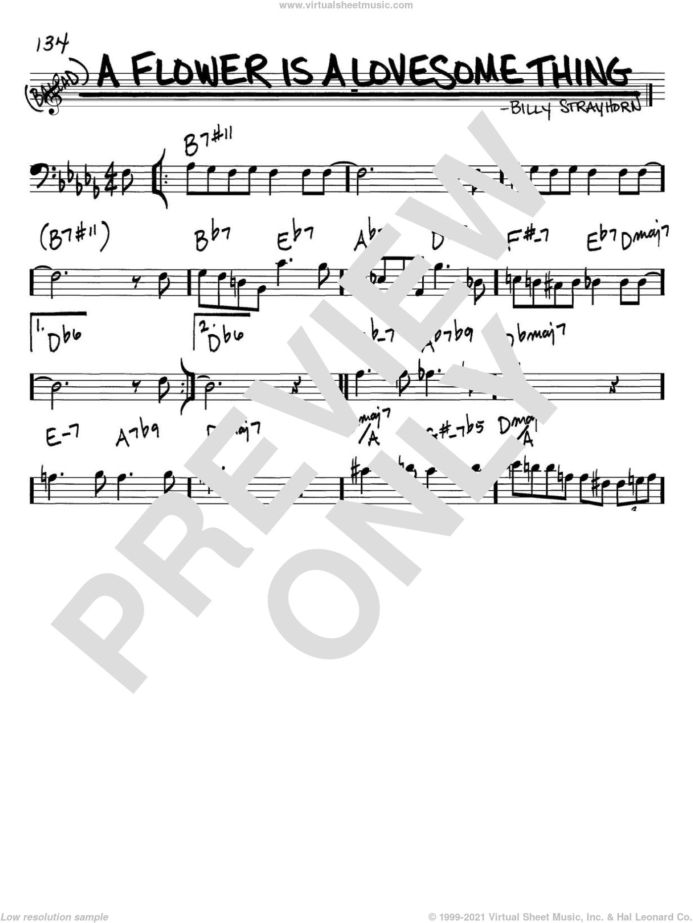A Flower Is A Lovesome Thing sheet music for voice and other instruments (bass clef) by Billy Strayhorn, intermediate skill level