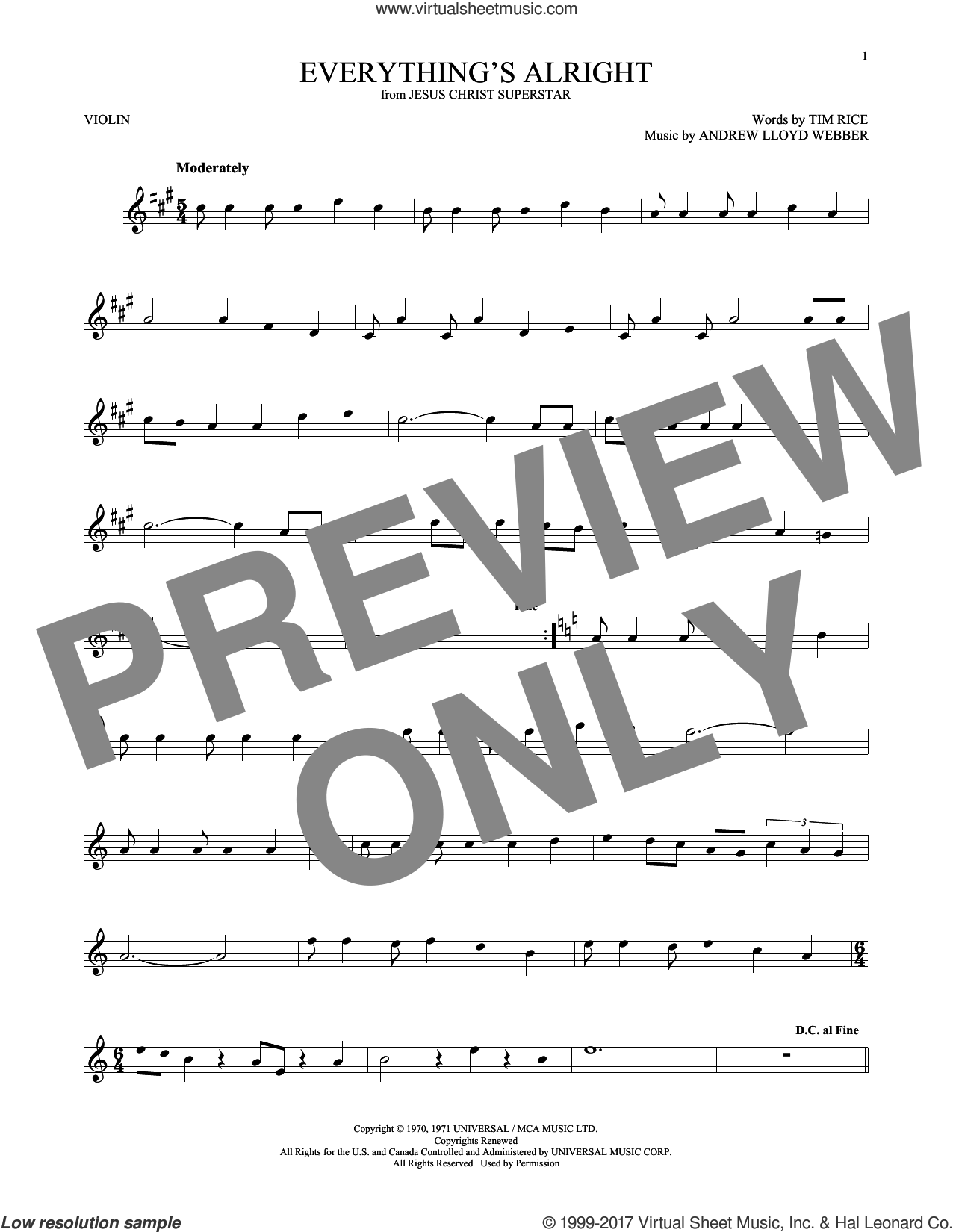 Everything's Alright sheet music for violin solo by Andrew Lloyd Webber, Yvonne Elliman and Tim Rice, intermediate