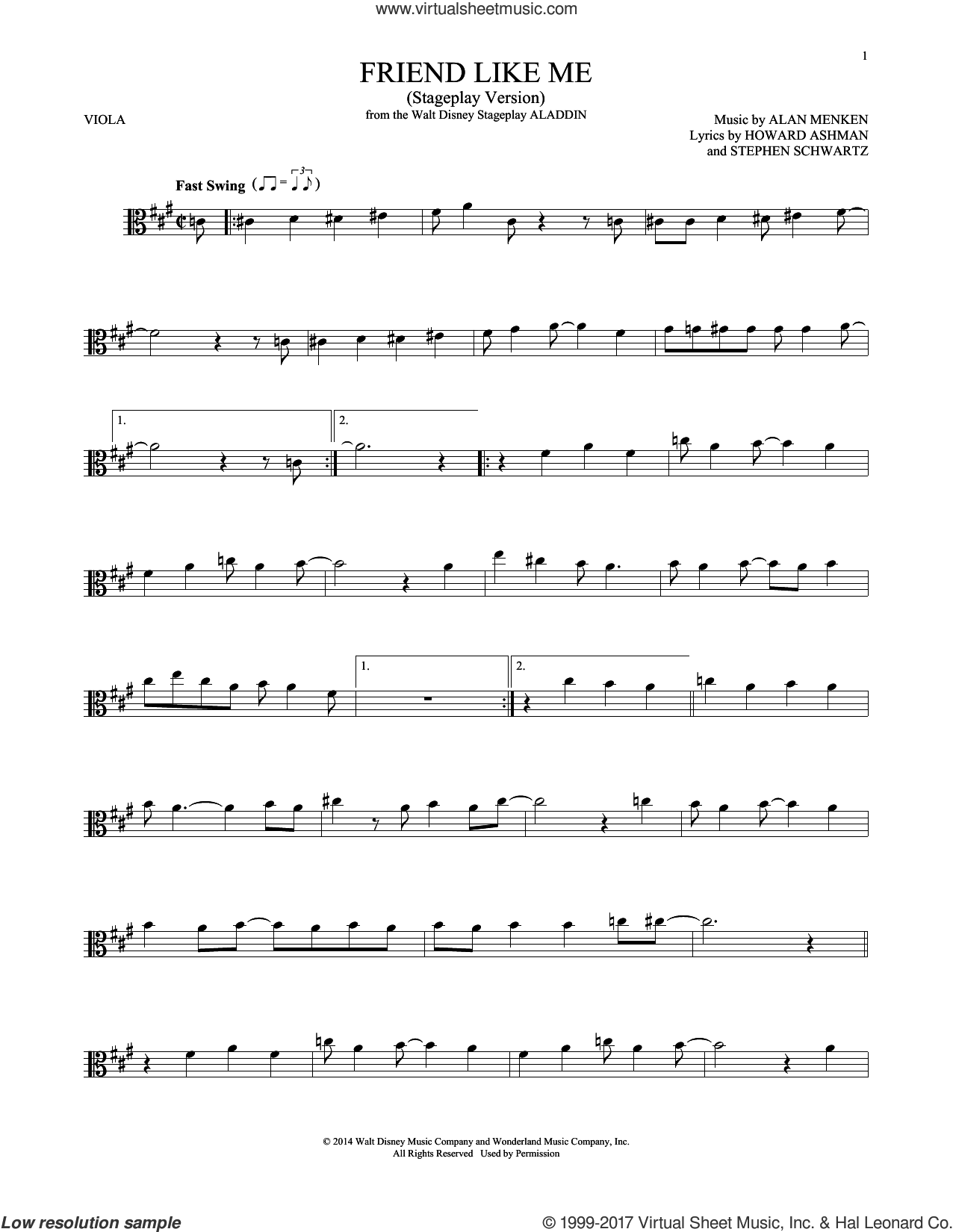 Friend Like Me (Stageplay Version) sheet music for viola solo by Alan Menken, Howard Ashman and Stephen Schwartz, intermediate skill level