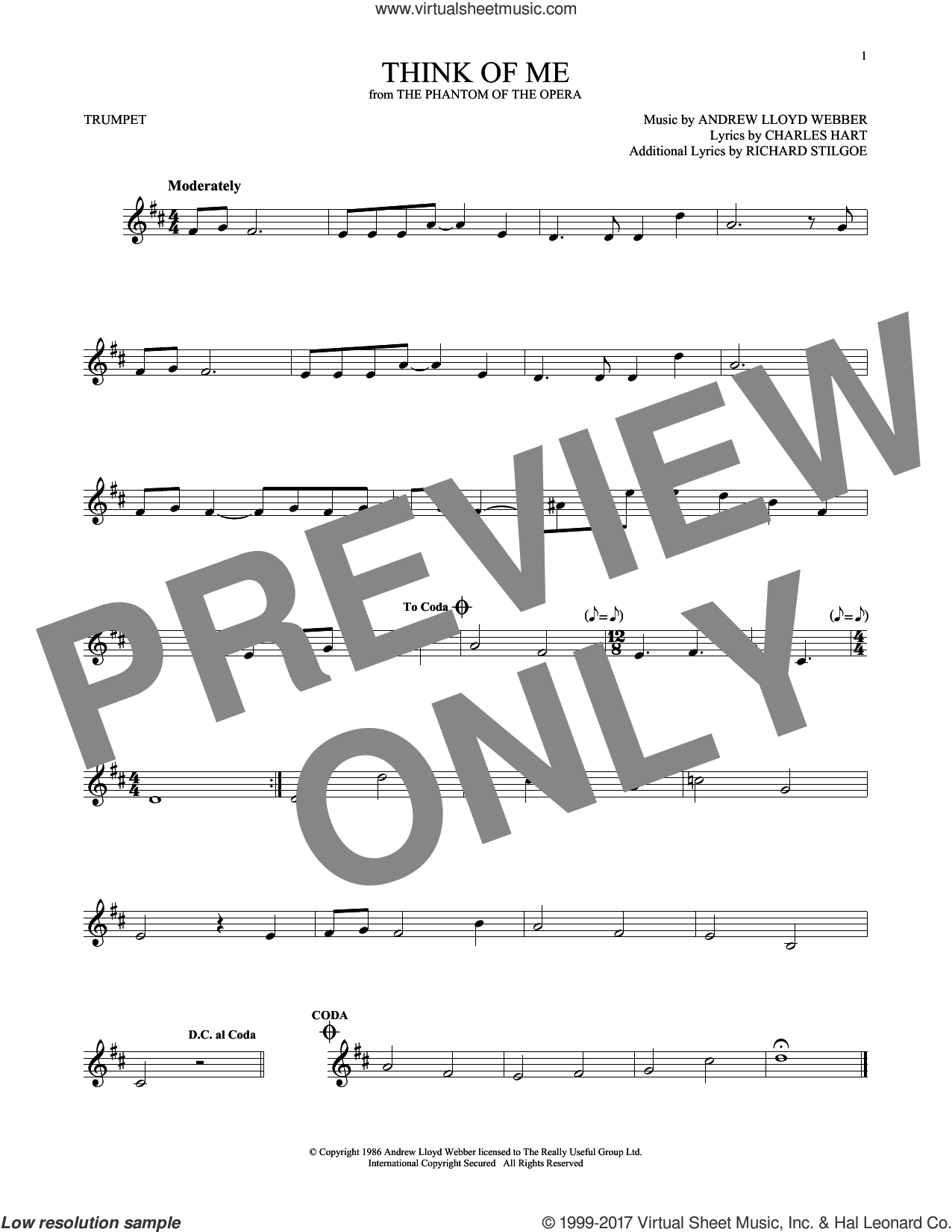 Think Of Me (from The Phantom Of The Opera) sheet music for trumpet solo by Andrew Lloyd Webber, Charles Hart and Richard Stilgoe, intermediate skill level
