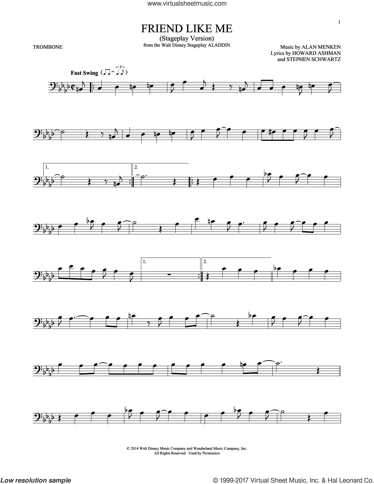 Friend Like Me (from Aladdin) (Stageplay Version) sheet music for trombone solo by Alan Menken, Howard Ashman and Stephen Schwartz, intermediate skill level