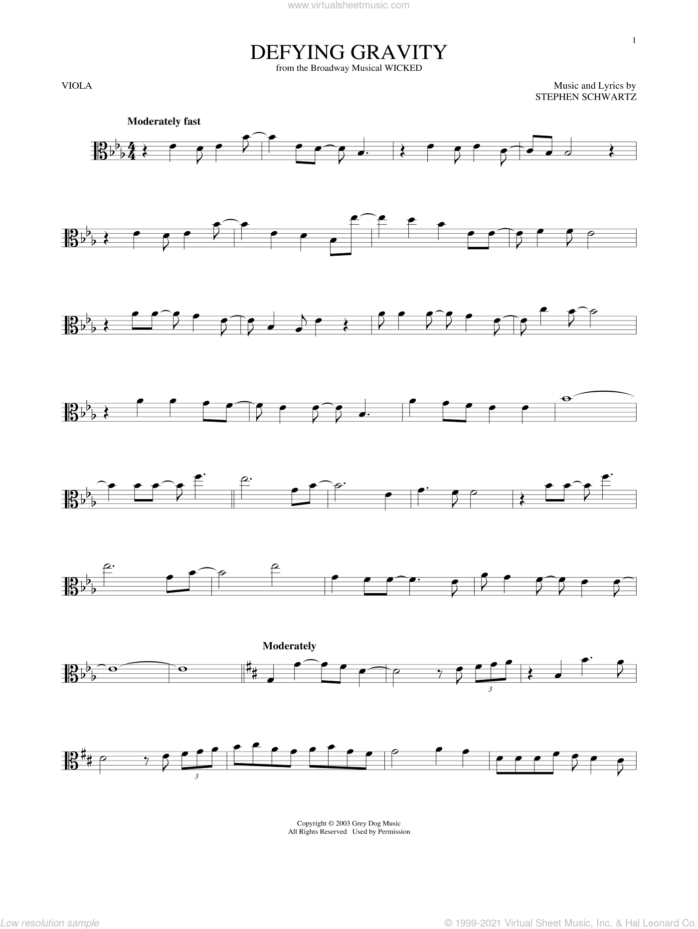 Defying Gravity sheet music for viola solo by Stephen Schwartz, intermediate skill level