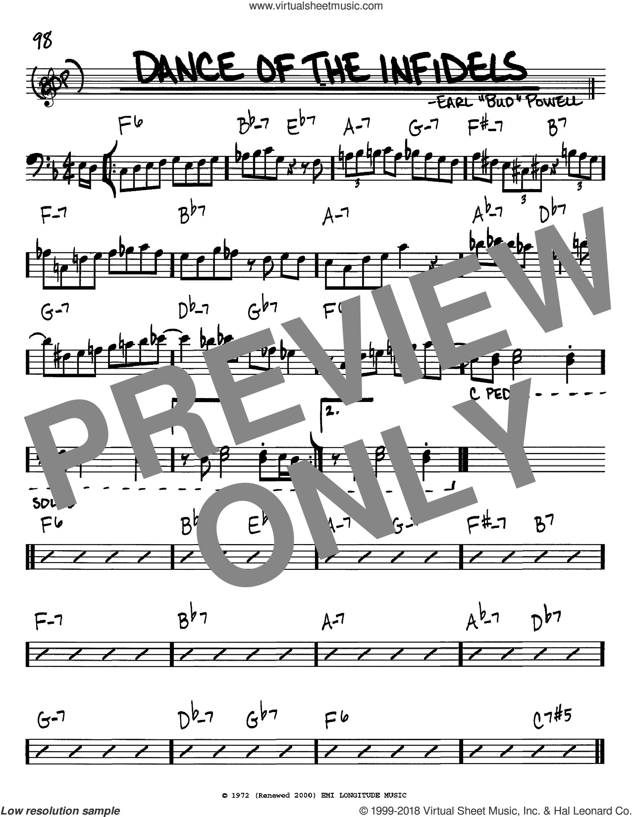 Dance Of The Infidels sheet music for voice and other instruments (bass clef) by Bud Powell, intermediate skill level