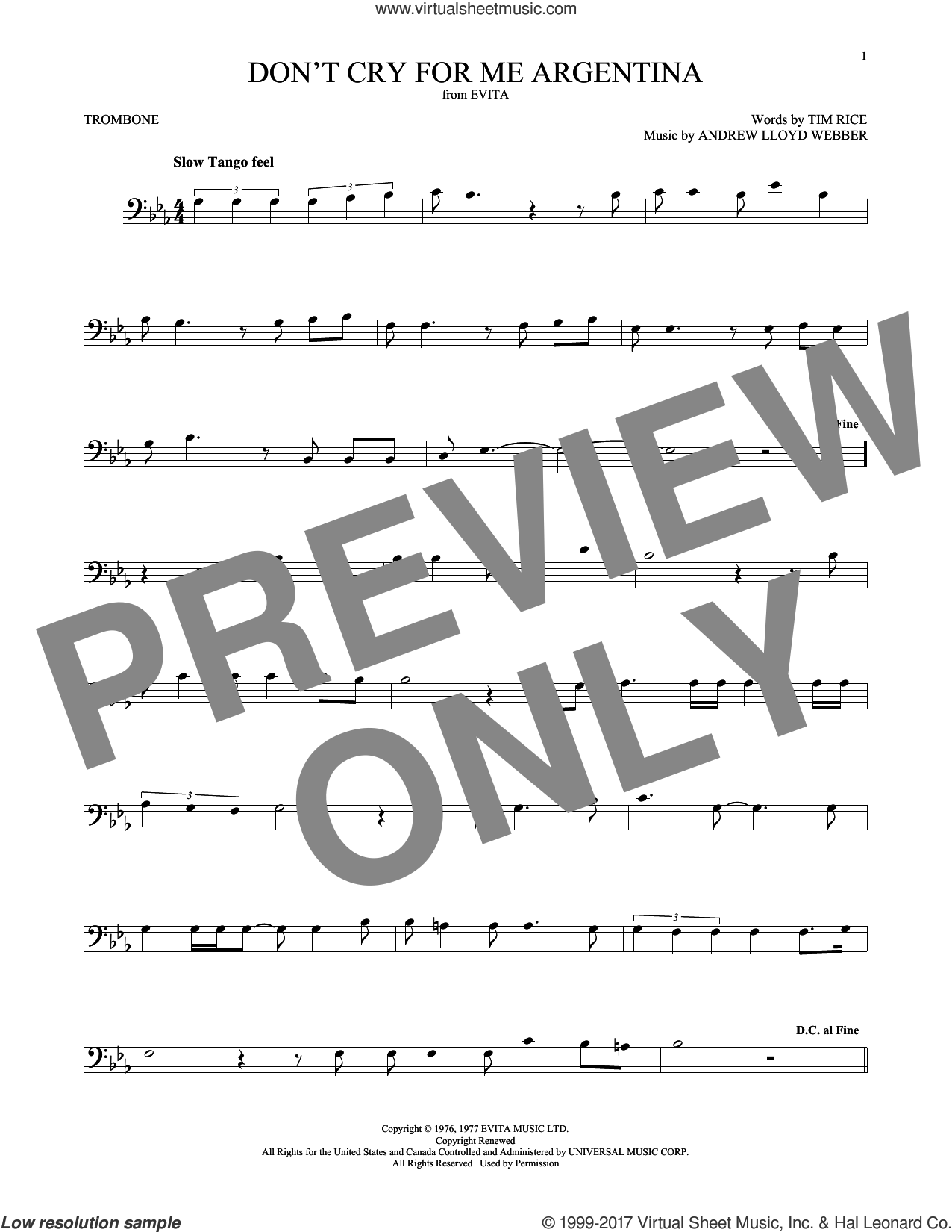 Don't Cry For Me Argentina sheet music for trombone solo by Andrew Lloyd Webber, Festival, Madonna and Tim Rice, intermediate skill level