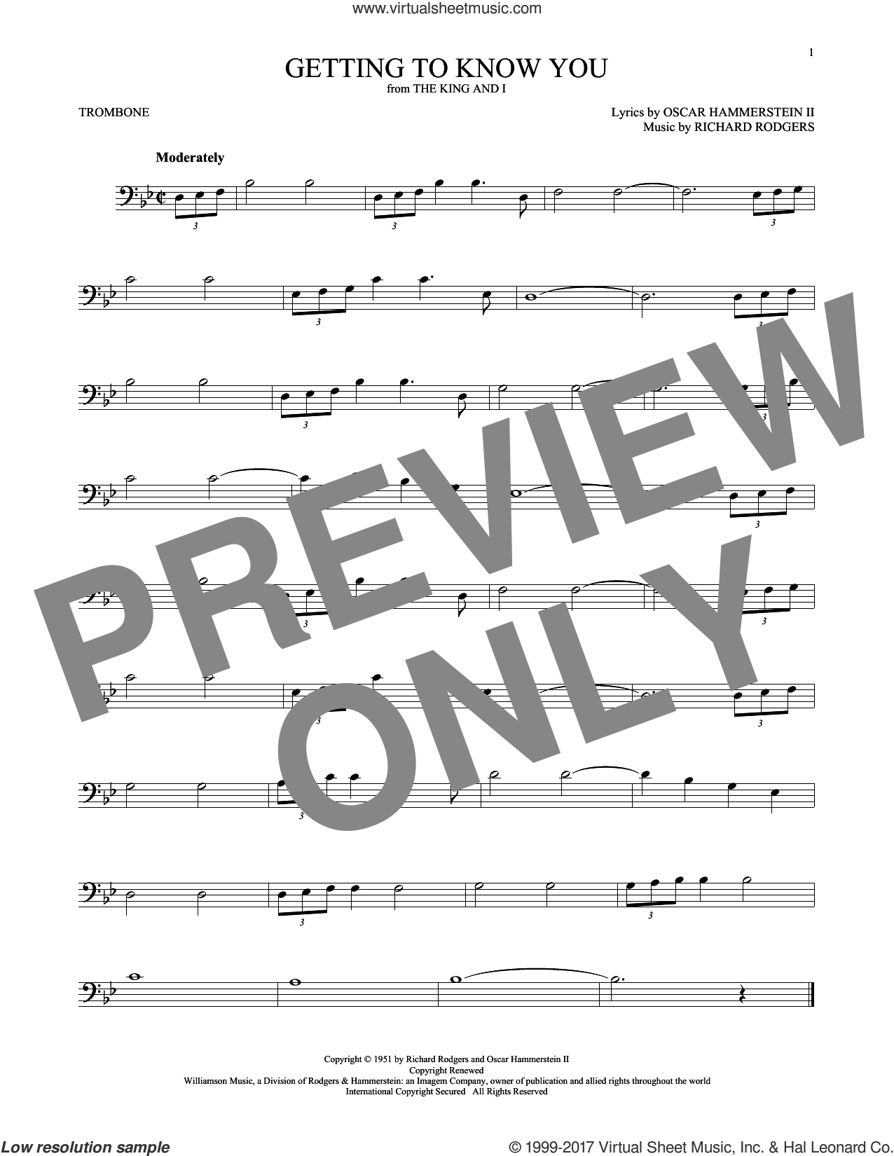 Getting To Know You sheet music for trombone solo by Rodgers & Hammerstein, Oscar II Hammerstein and Richard Rodgers, intermediate skill level