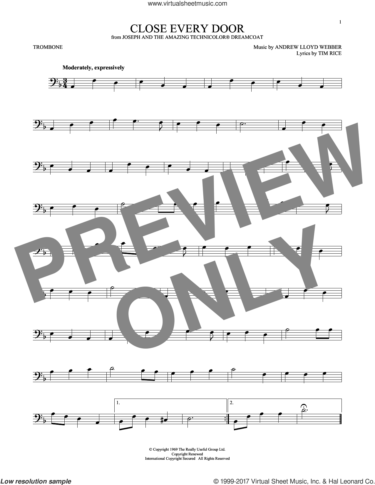 Close Every Door sheet music for trombone solo by Andrew Lloyd Webber and Tim Rice, intermediate skill level