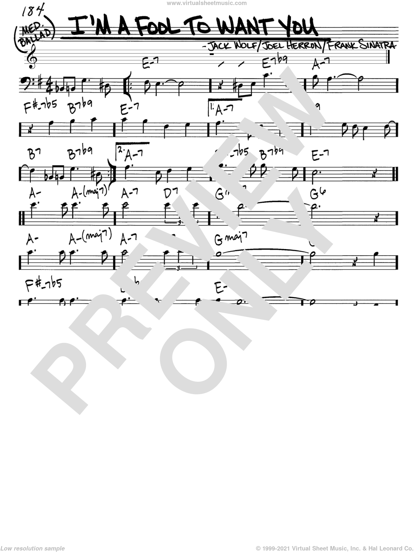 I'm A Fool To Want You sheet music for voice and other instruments (bass clef) by Frank Sinatra, Jack Wolf and Joel Herron, intermediate. Score Image Preview.