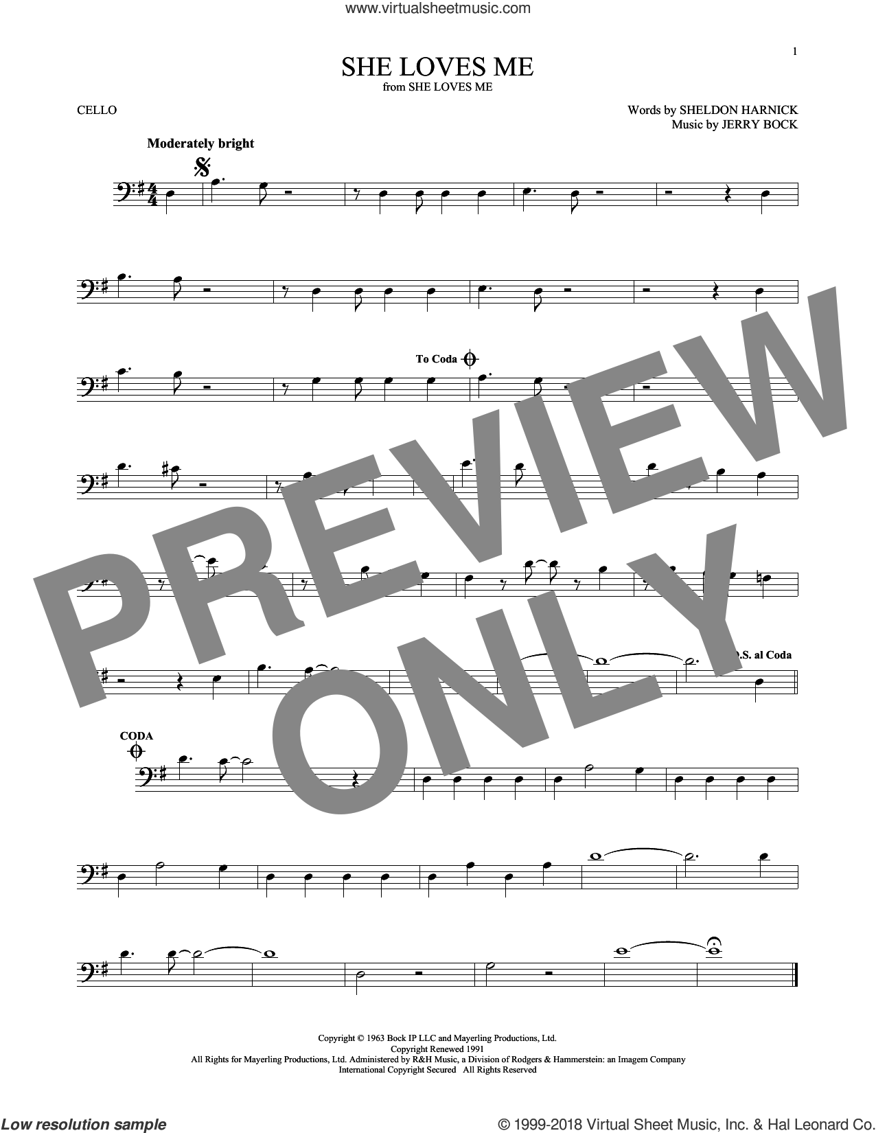 She Loves Me sheet music for cello solo by Jerry Bock and Sheldon Harnick, intermediate skill level
