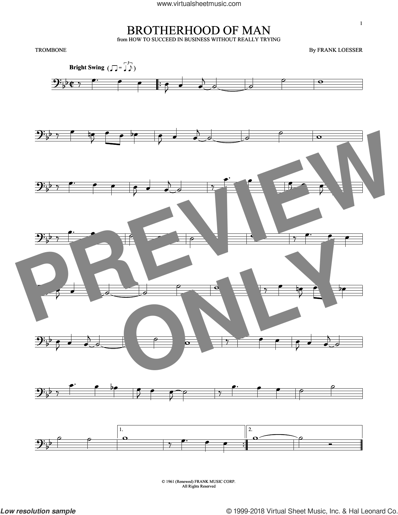 Brotherhood Of Man sheet music for trombone solo by Frank Loesser, intermediate skill level