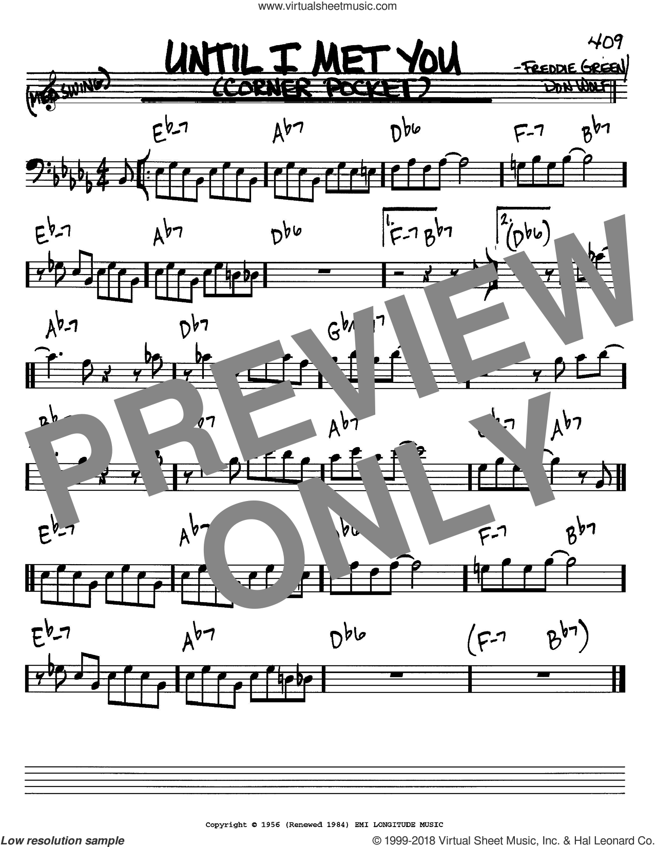 Until I Met You sheet music for voice and other instruments (Bass Clef ) by Don Wolf and Freddie Green