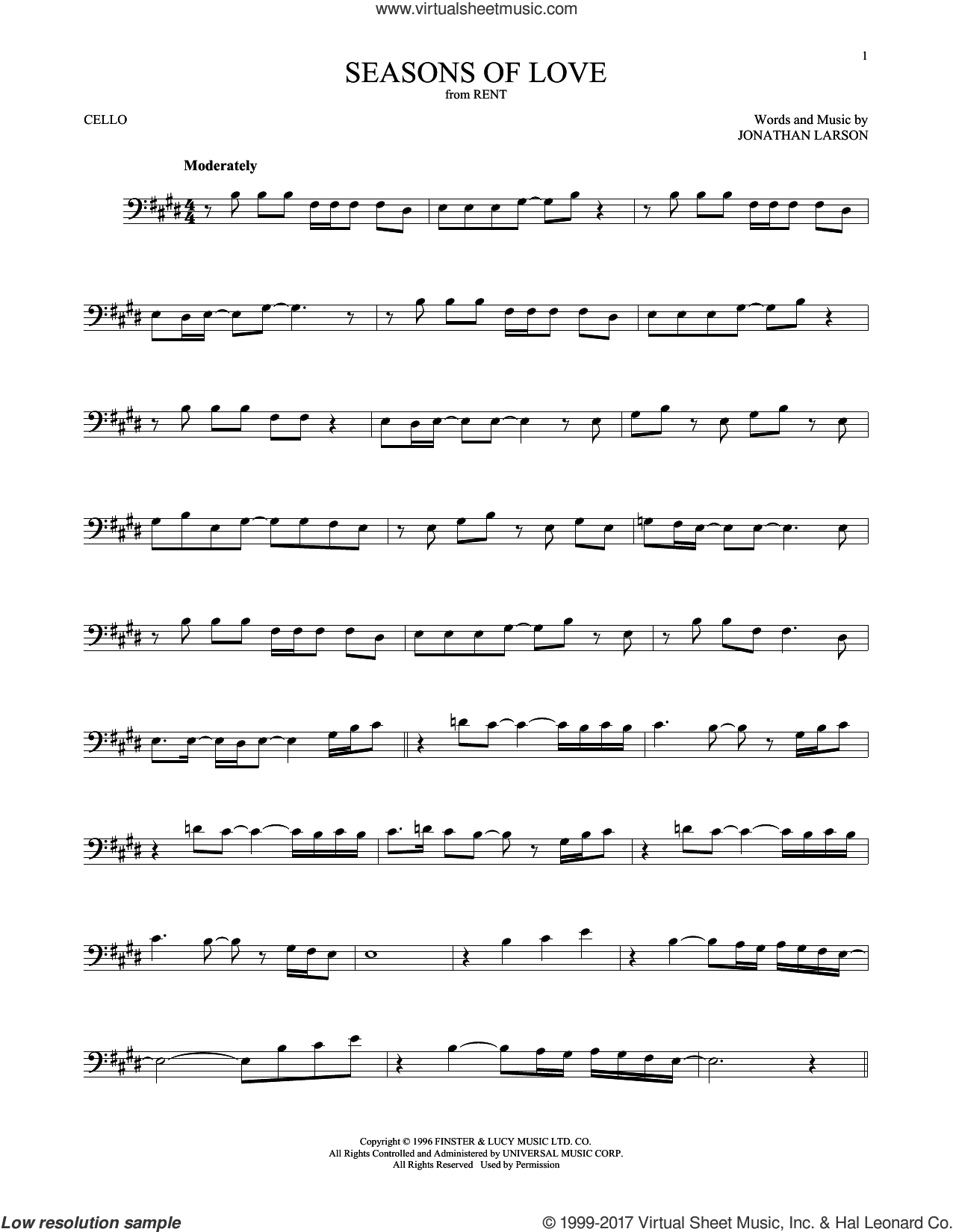Seasons Of Love sheet music for cello solo by Jonathan Larson, intermediate. Score Image Preview.