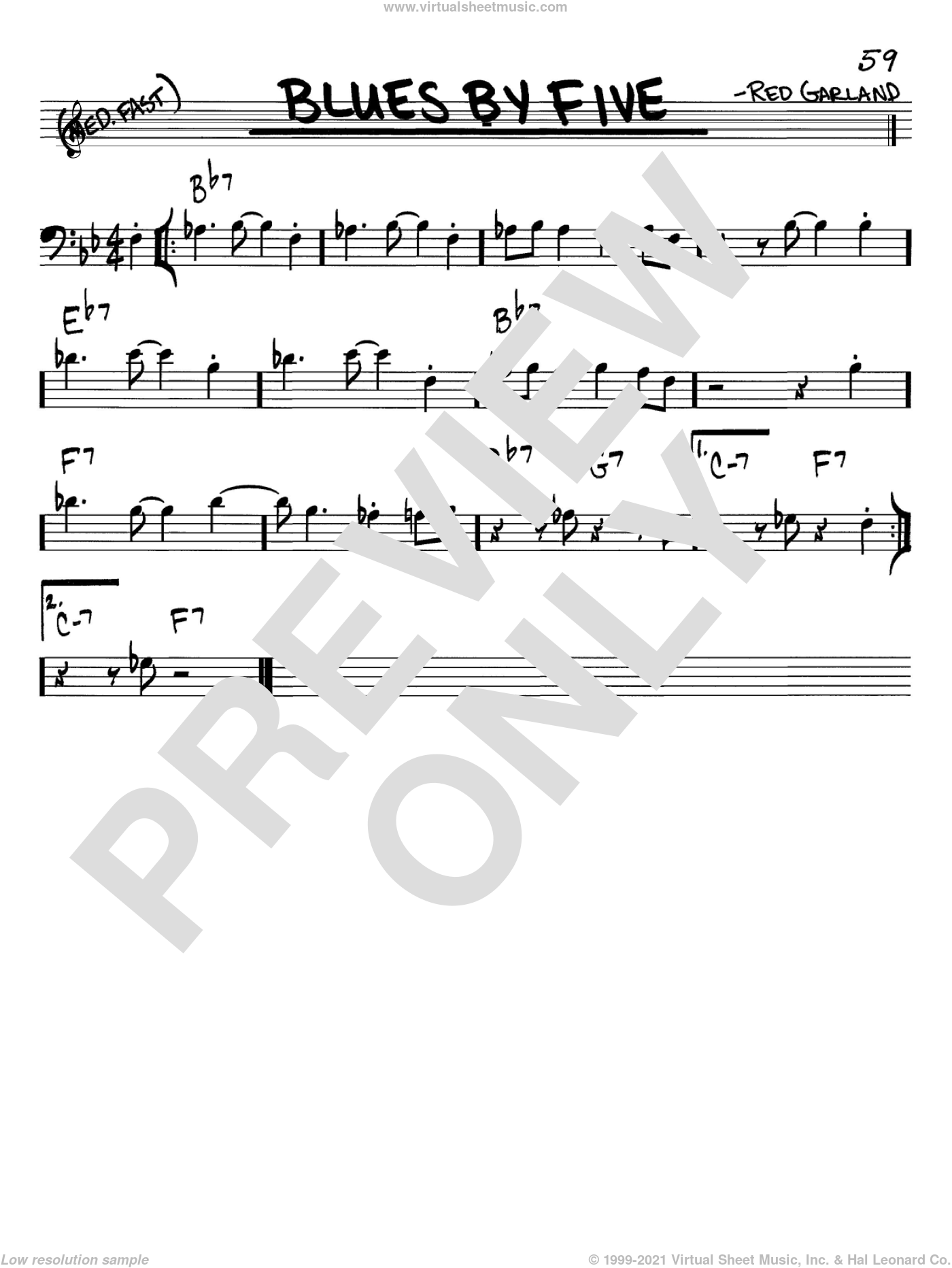 Blues By Five sheet music for voice and other instruments (bass clef) by Miles Davis and Red Garland, intermediate skill level