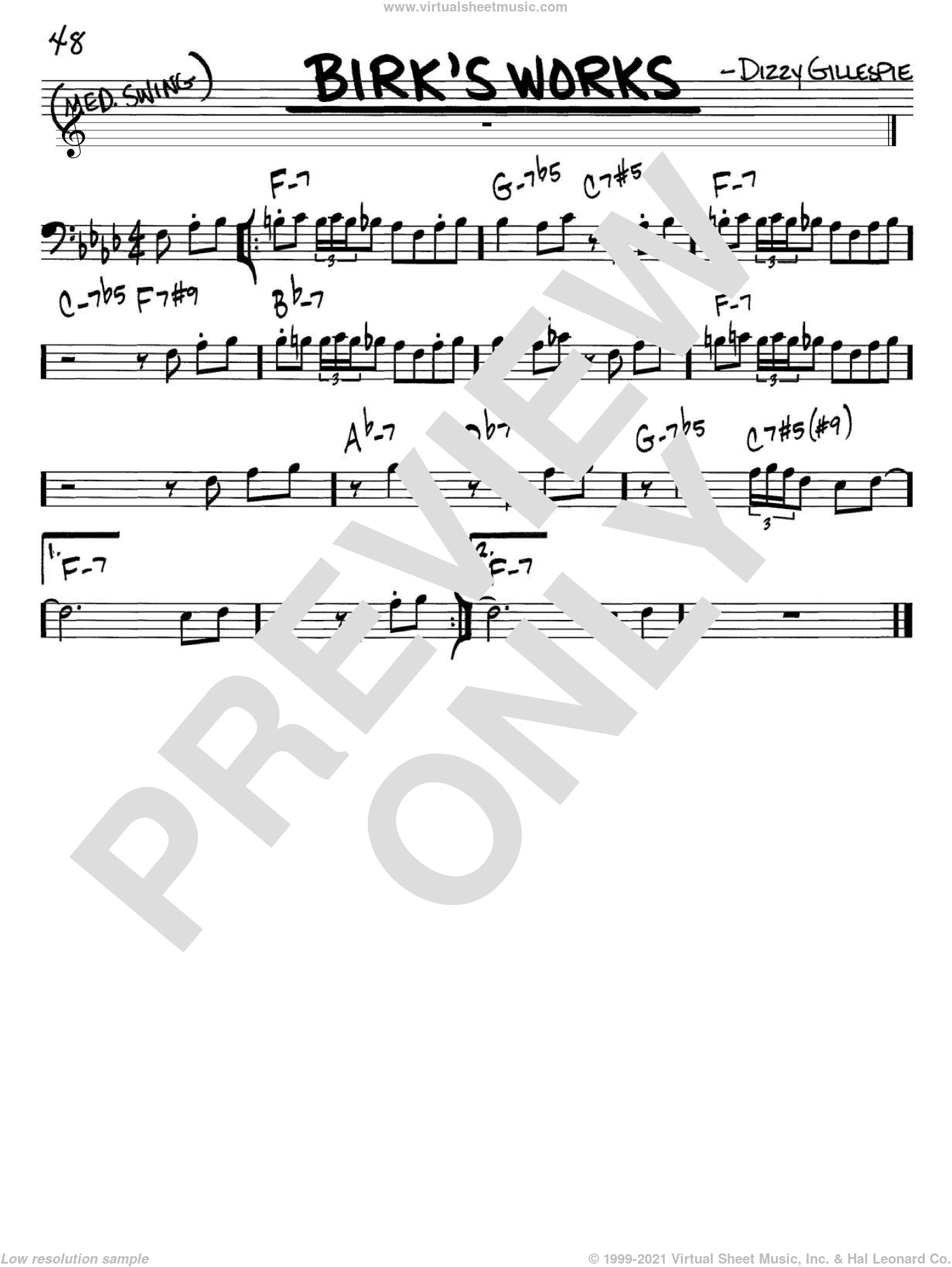 Birk's Works sheet music for voice and other instruments (bass clef) by Dizzy Gillespie, intermediate skill level
