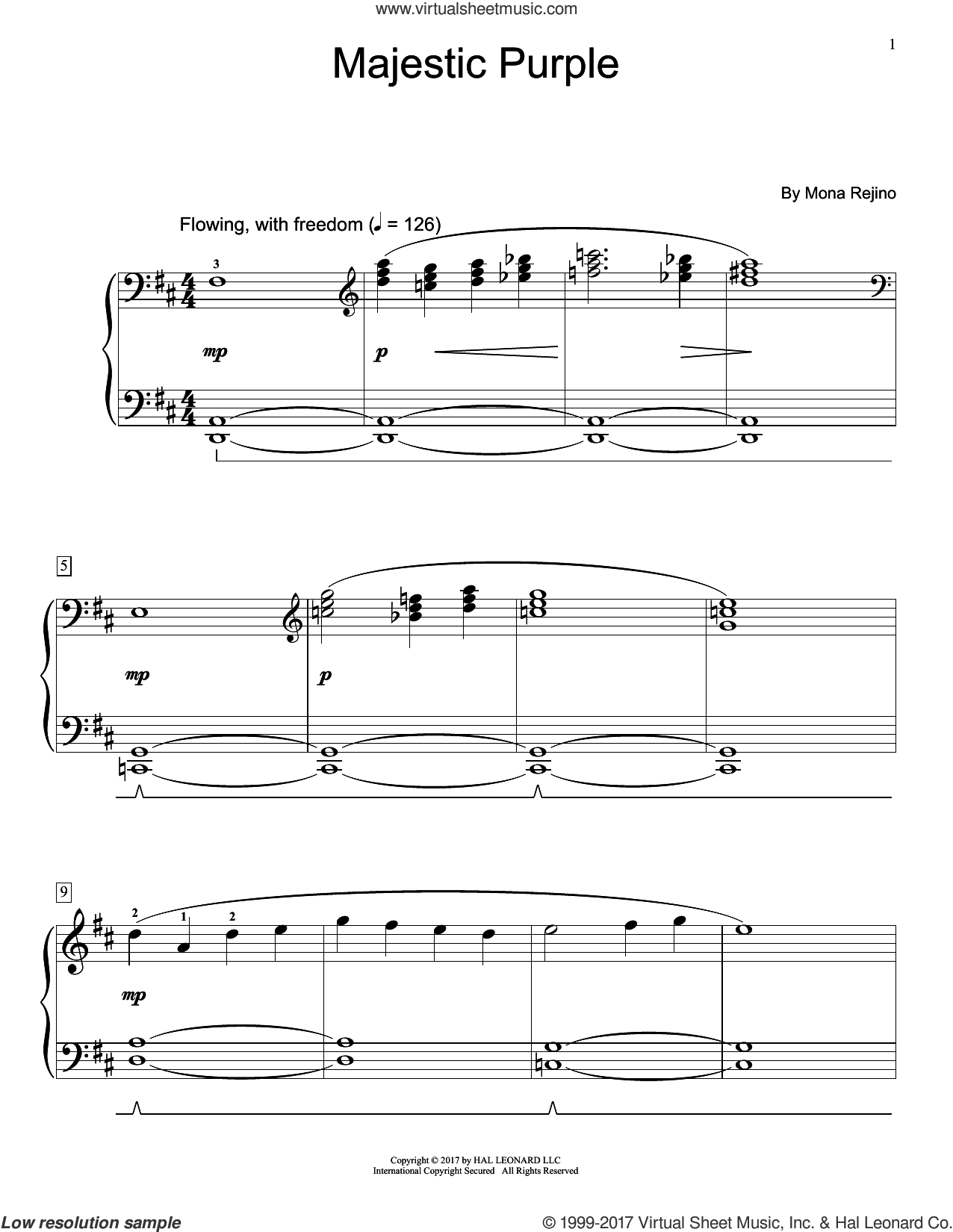 Majestic Purple sheet music for piano solo (elementary) by Mona Rejino, beginner piano (elementary)
