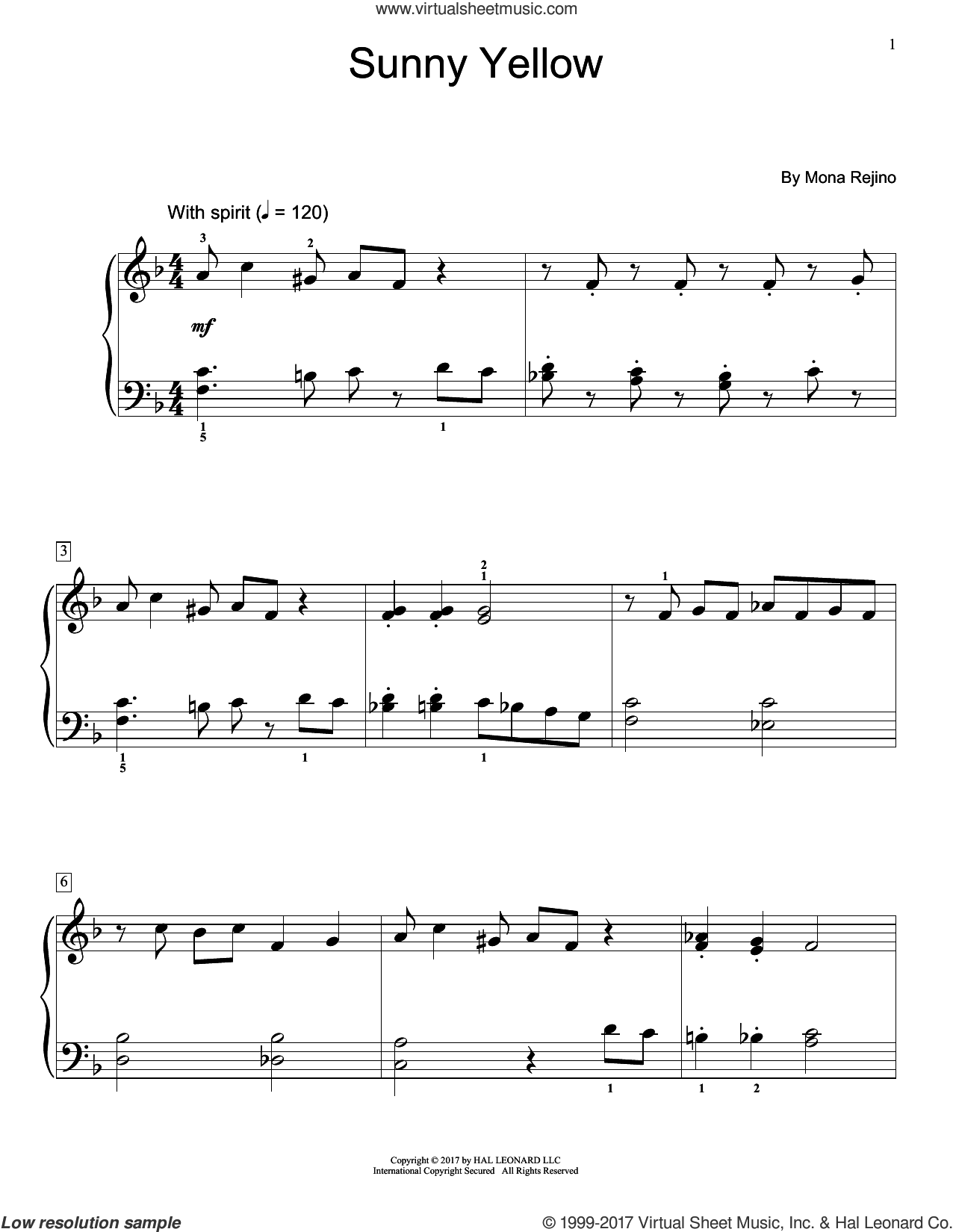 Sunny Yellow sheet music for piano solo (elementary) by Mona Rejino, beginner piano (elementary)