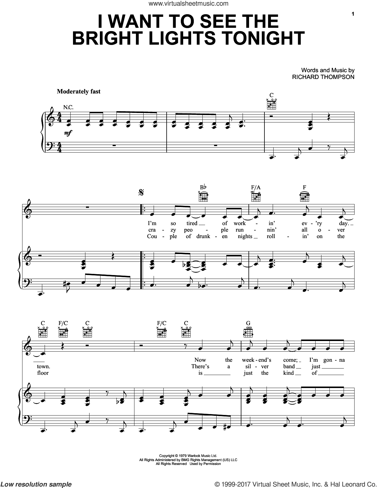 I Want To See The Bright Lights Tonight sheet music for voice, piano or guitar by Richard & Linda Thompson and Richard Thompson, intermediate skill level