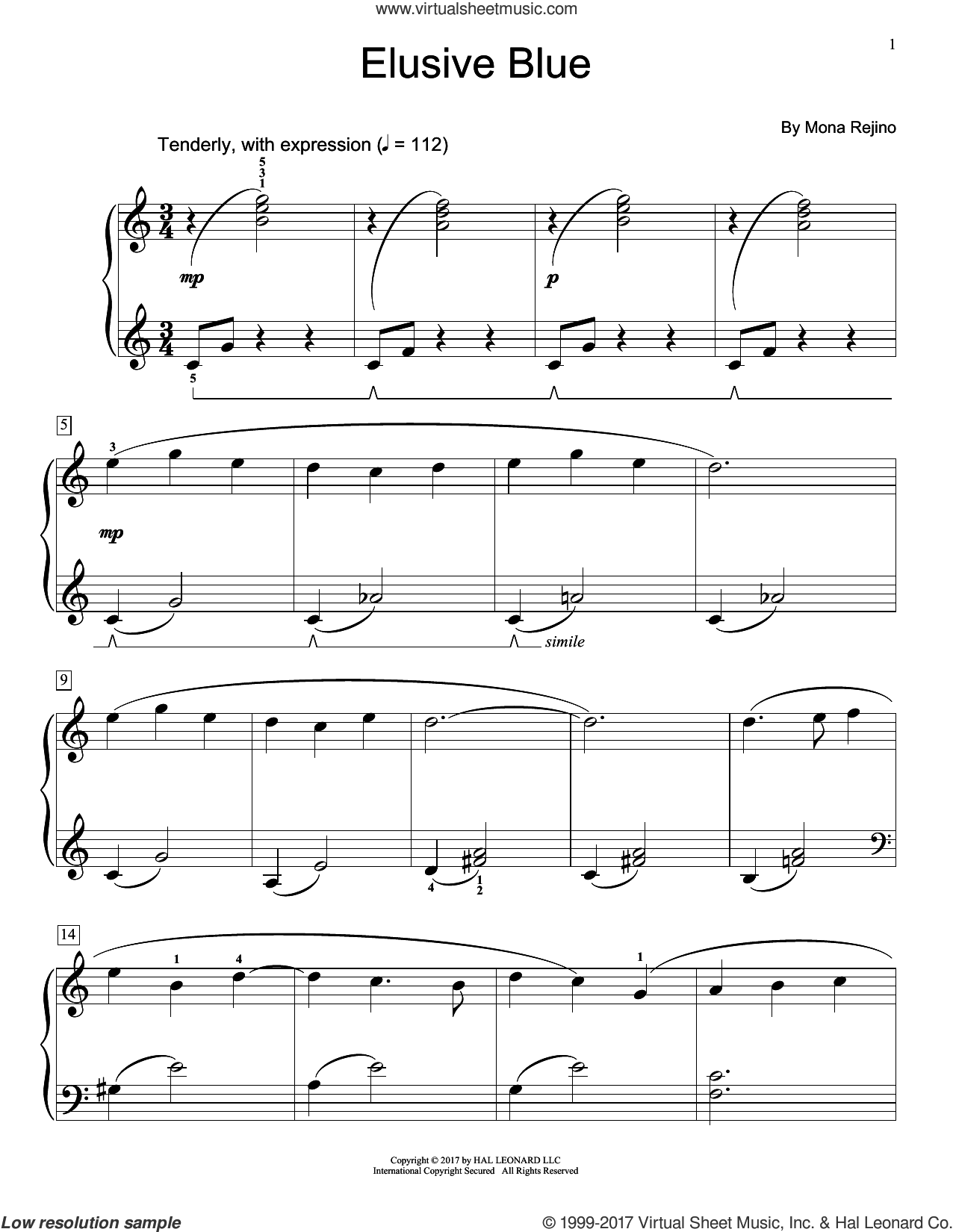 Elusive Blue sheet music for piano solo (elementary) by Mona Rejino, beginner piano (elementary)