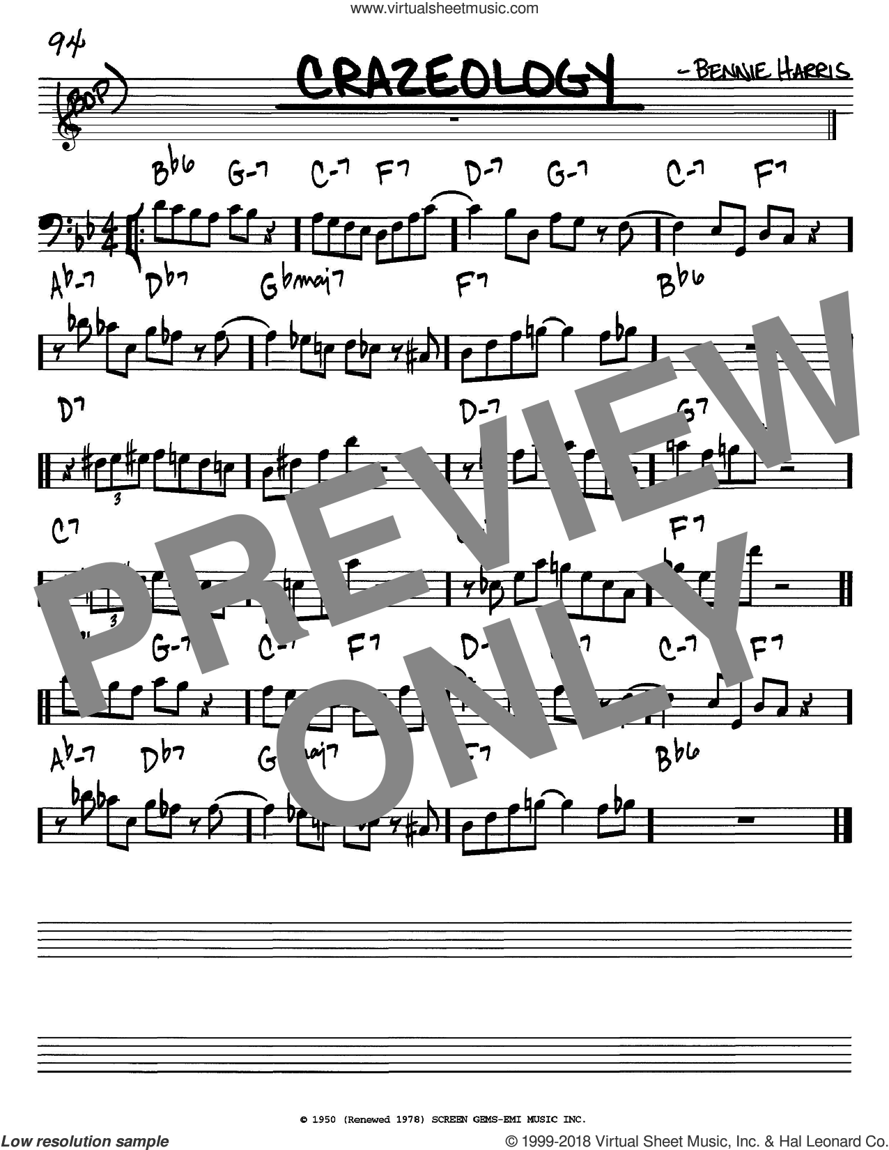 Crazeology sheet music for voice and other instruments (Bass Clef ) by Bennie Harris and Charlie Parker. Score Image Preview.