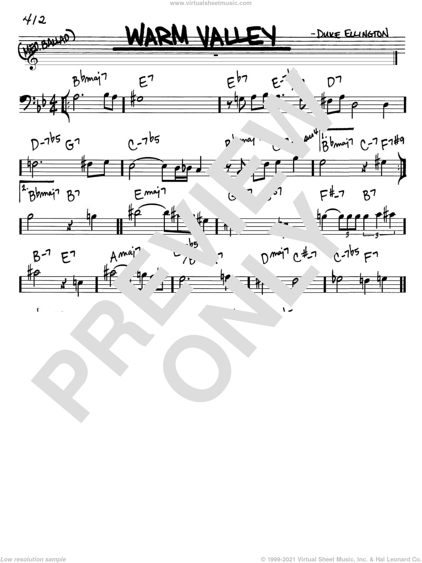 Warm Valley sheet music for voice and other instruments (Bass Clef ) by Duke Ellington. Score Image Preview.