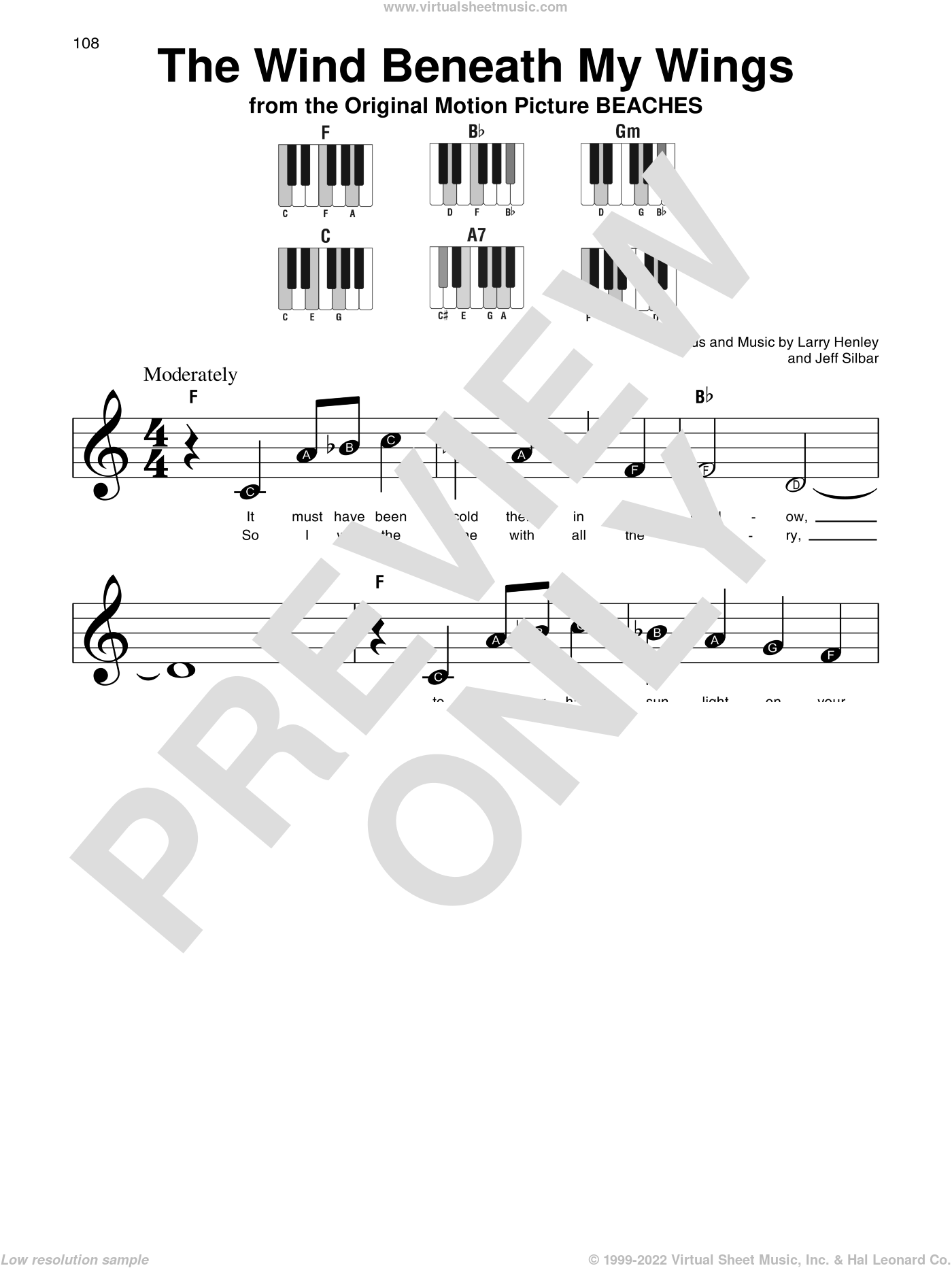 The Wind Beneath My Wings sheet music for piano solo by Bette Midler, Jeff Silbar and Larry Henley, beginner skill level