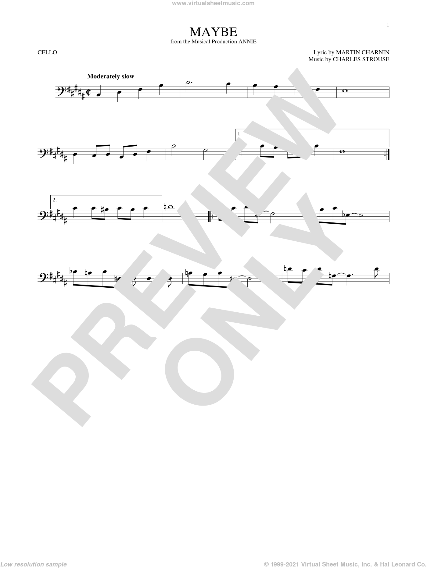 Maybe sheet music for cello solo by Charles Strouse and Martin Charnin, intermediate. Score Image Preview.