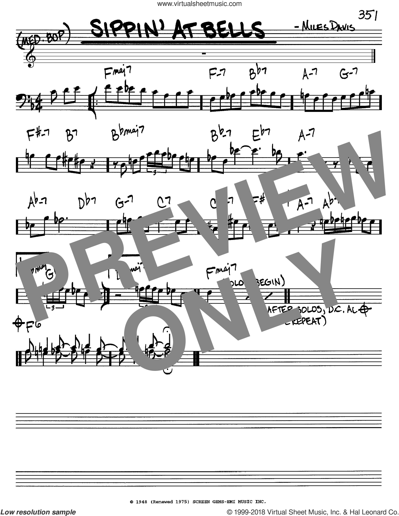 Sippin' At Bells sheet music for voice and other instruments (bass clef) by Miles Davis, intermediate skill level
