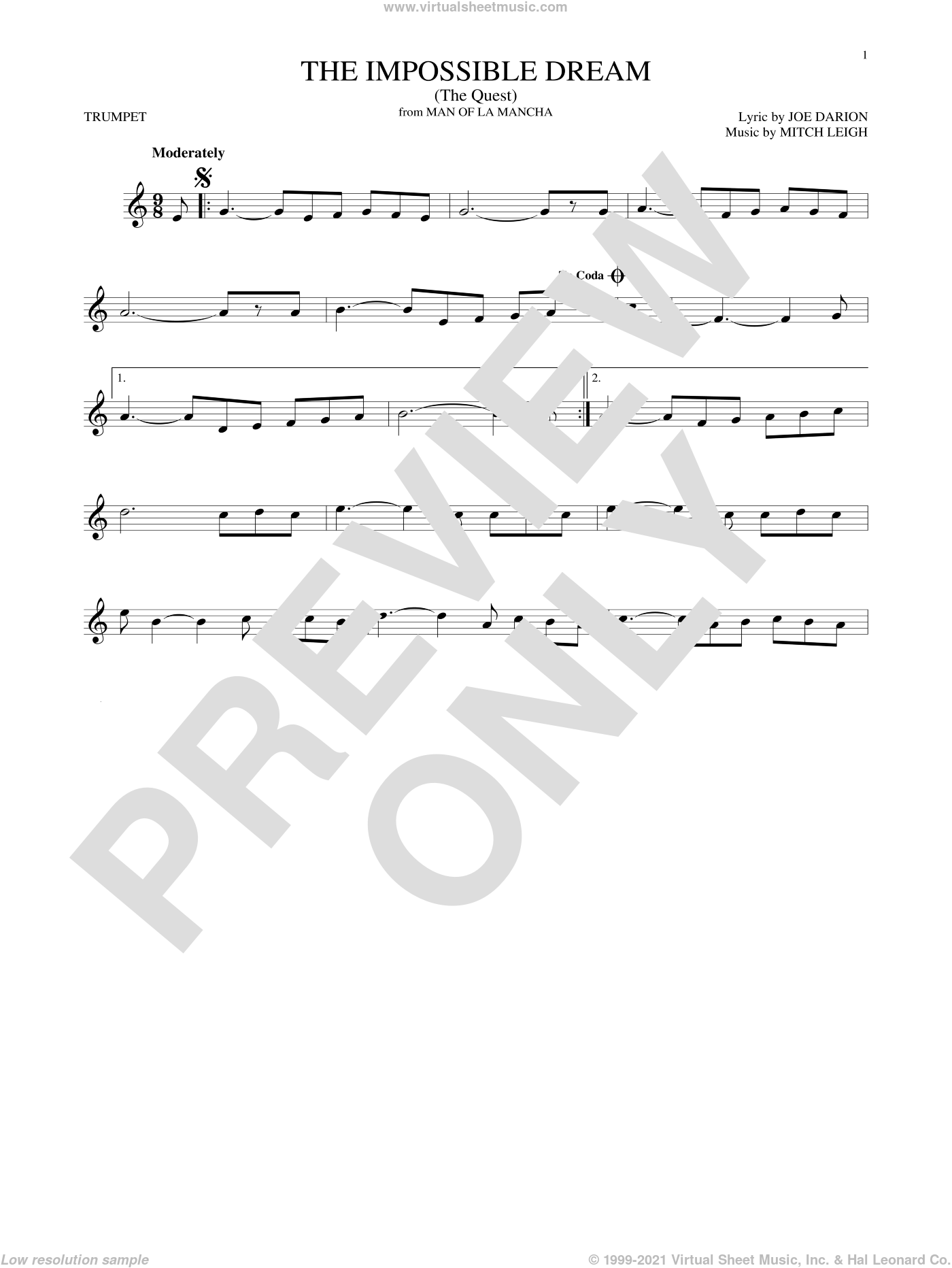 The Impossible Dream (The Quest) sheet music for trumpet solo by Joe Darion and Mitch Leigh, intermediate. Score Image Preview.