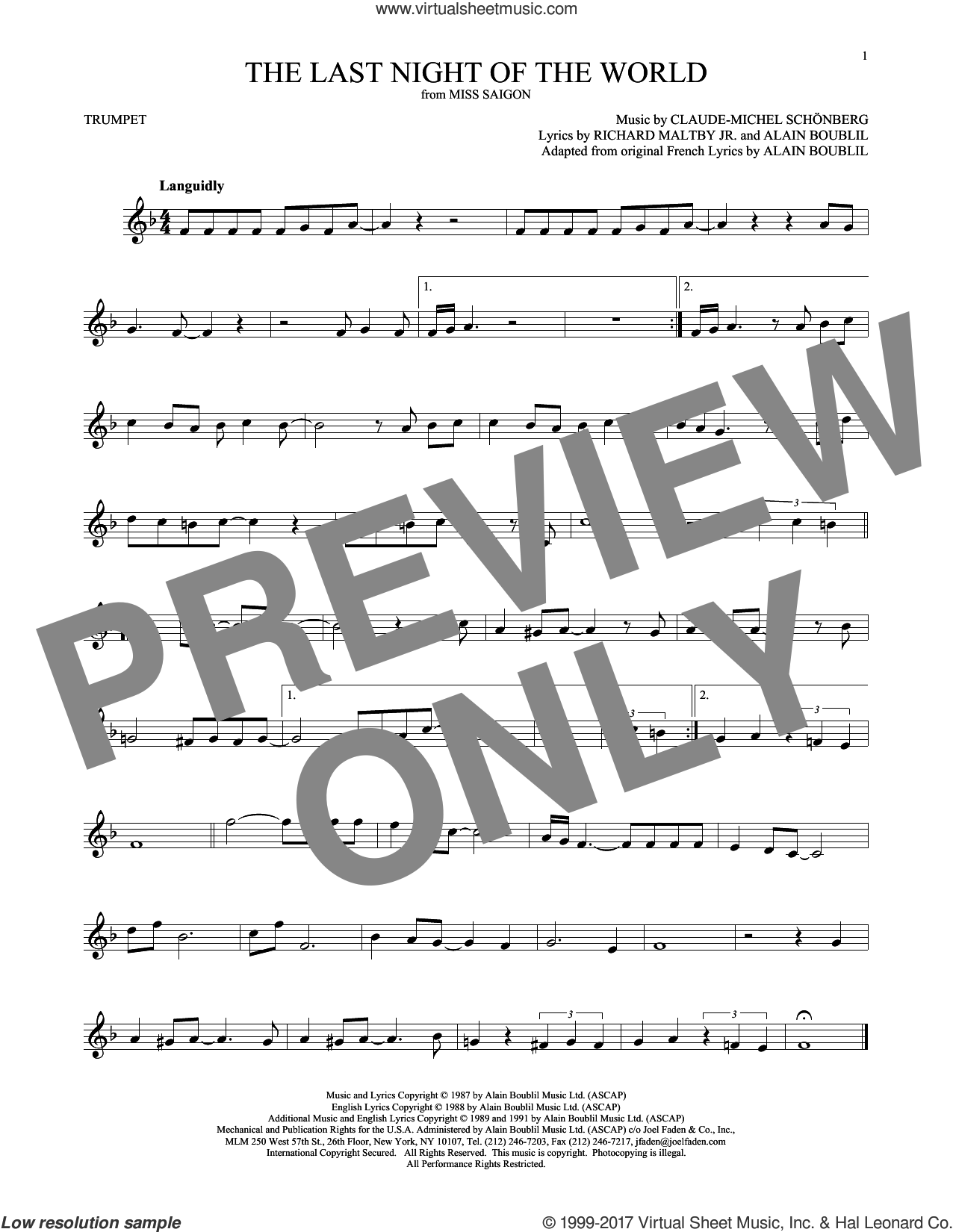 The Last Night Of The World sheet music for trumpet solo by Alain Boublil and Claude-Michel Schonberg, intermediate skill level