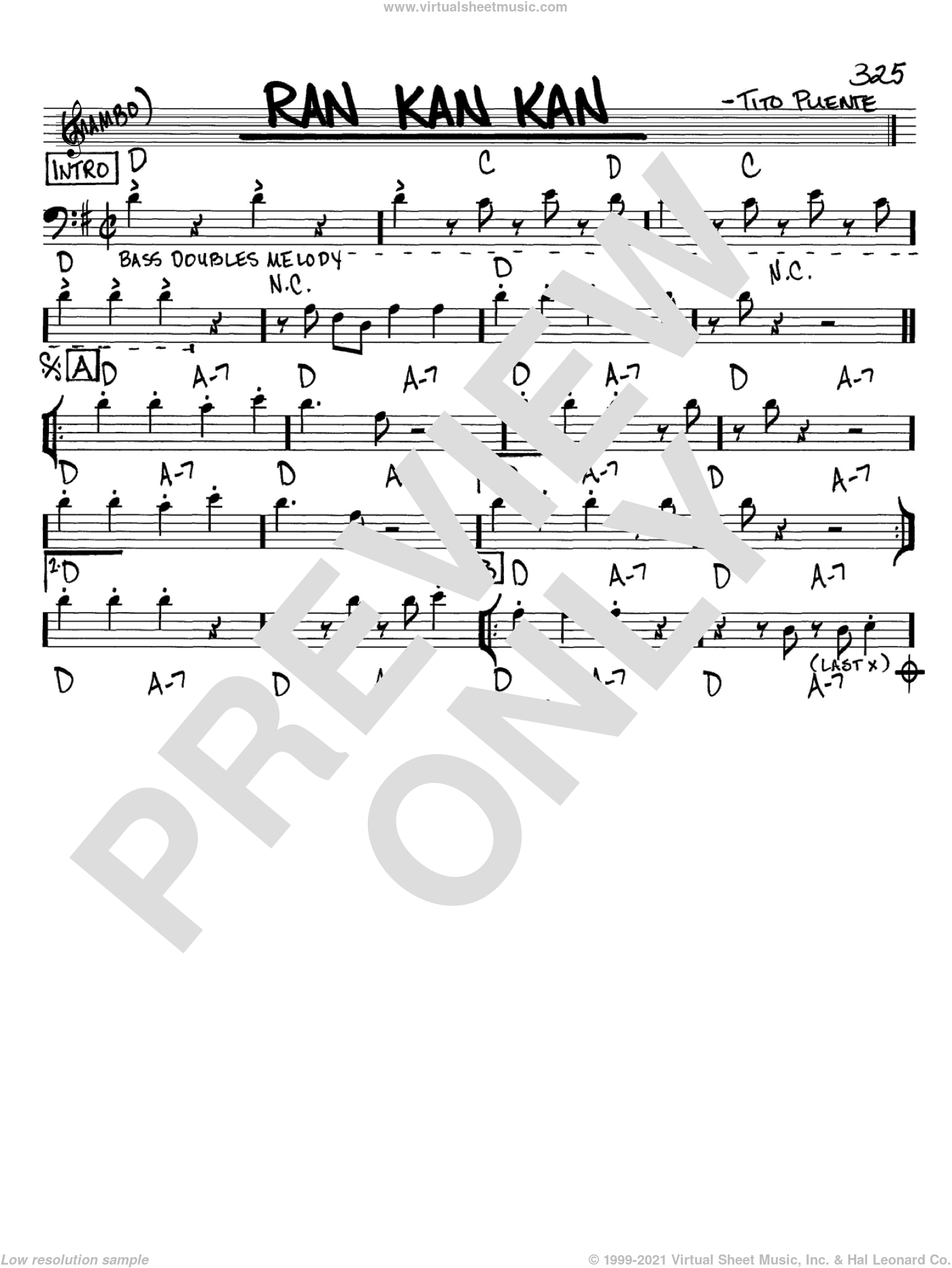 Ran Kan Kan sheet music for voice and other instruments (Bass Clef ) by Tito Puente