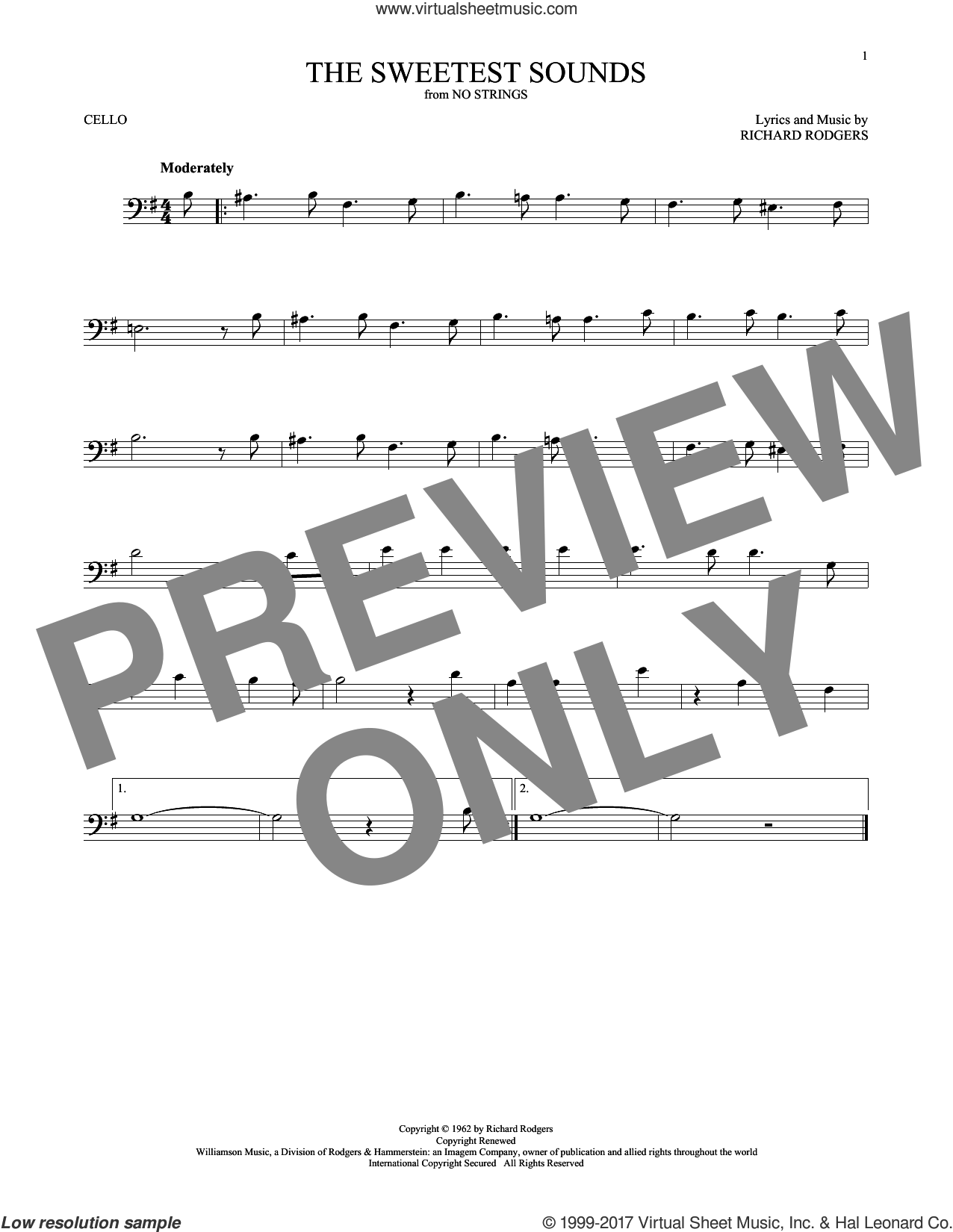The Sweetest Sounds sheet music for cello solo by Richard Rodgers, intermediate skill level