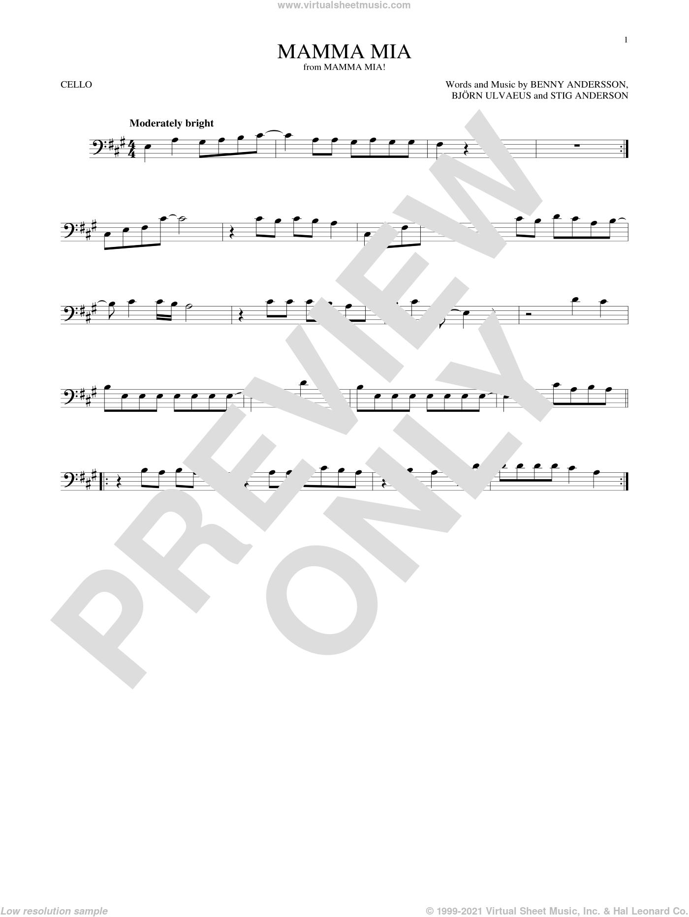 Mamma Mia sheet music for cello solo by ABBA, Meryl Streep, Benny Andersson, Bjorn Ulvaeus and Stig Anderson, intermediate skill level