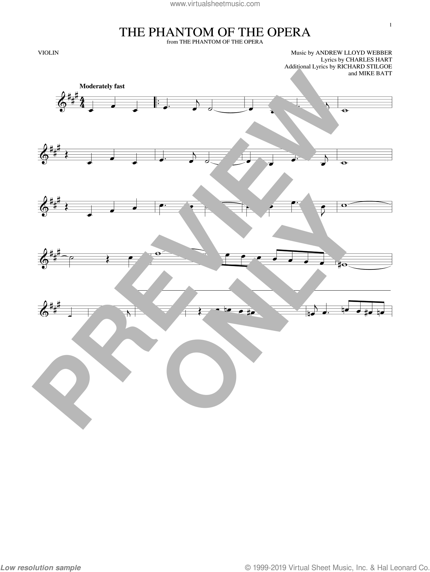 The Phantom Of The Opera sheet music for violin solo by Andrew Lloyd Webber, Charles Hart, Mike Batt and Richard Stilgoe, intermediate skill level