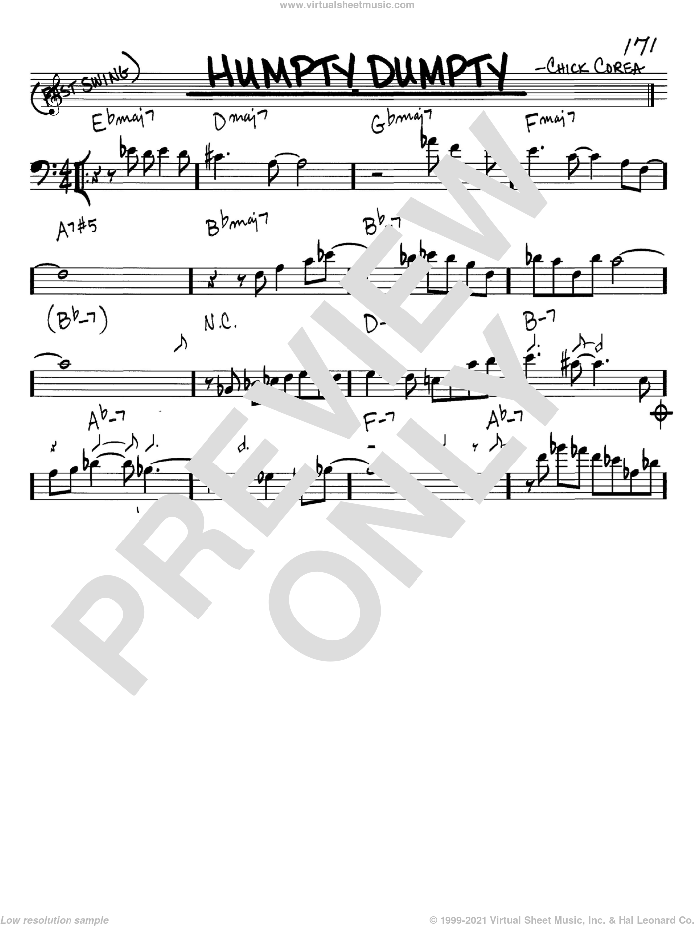 Humpty Dumpty sheet music for voice and other instruments (Bass Clef ) by Chick Corea. Score Image Preview.
