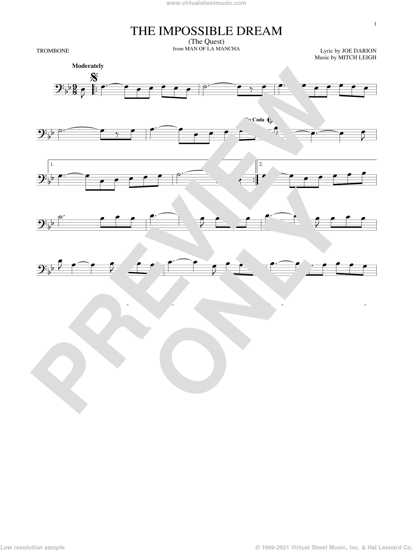 The Impossible Dream (The Quest) sheet music for trombone solo by Joe Darion and Mitch Leigh, intermediate skill level