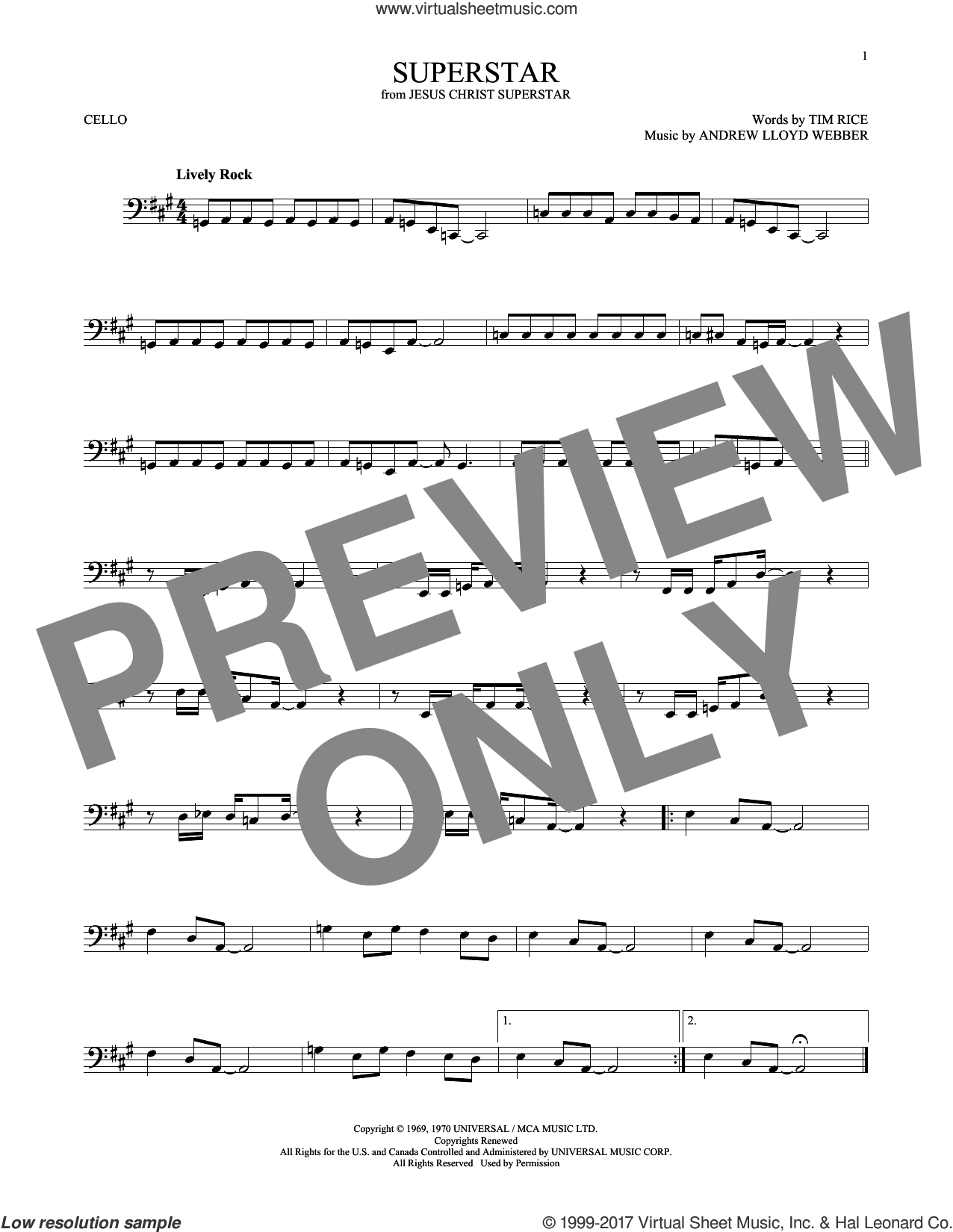 Superstar (from Jesus Christ Superstar) sheet music for cello solo by Andrew Lloyd Webber, Murray Head w/Trinidad Singers and Tim Rice, intermediate skill level