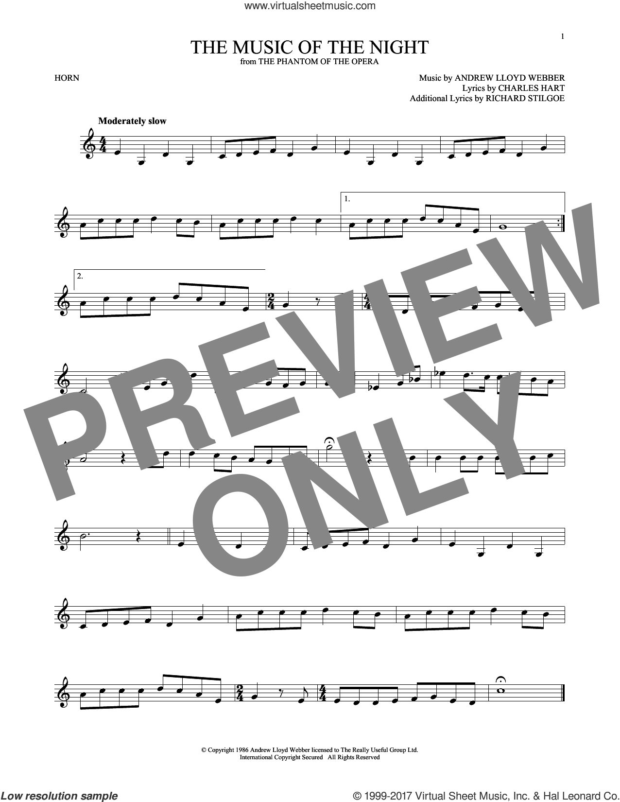 The Music Of The Night sheet music for horn solo by Andrew Lloyd Webber, David Cook, Charles Hart and Richard Stilgoe, intermediate skill level