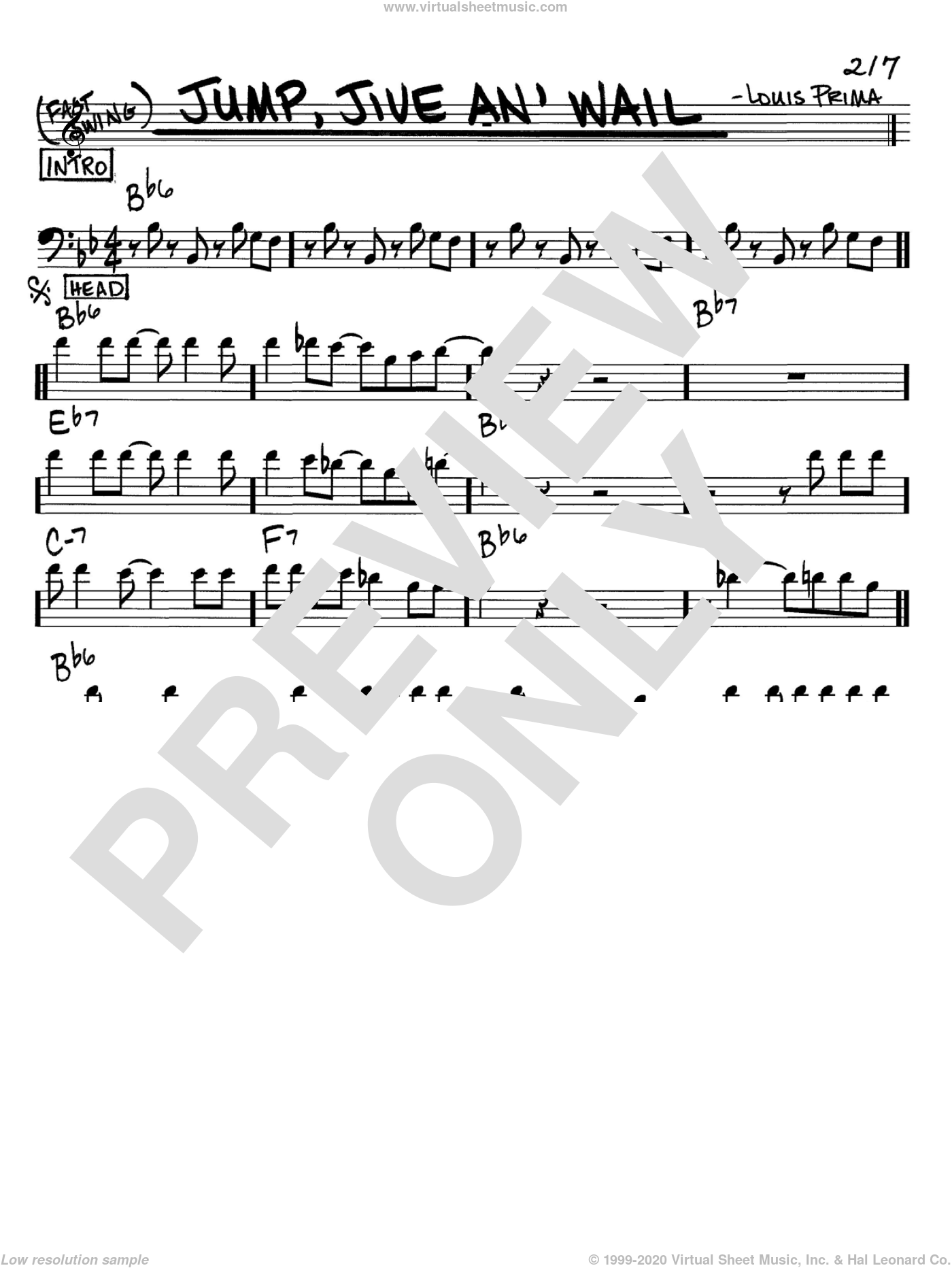 Jump, Jive An' Wail sheet music for voice and other instruments (Bass Clef ) by Louis Prima. Score Image Preview.