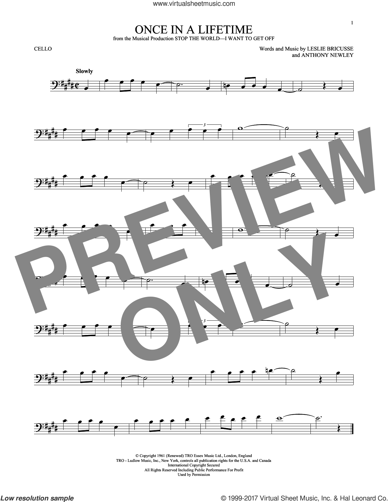 Once In A Lifetime sheet music for cello solo by Leslie Bricusse and Anthony Newley, intermediate skill level