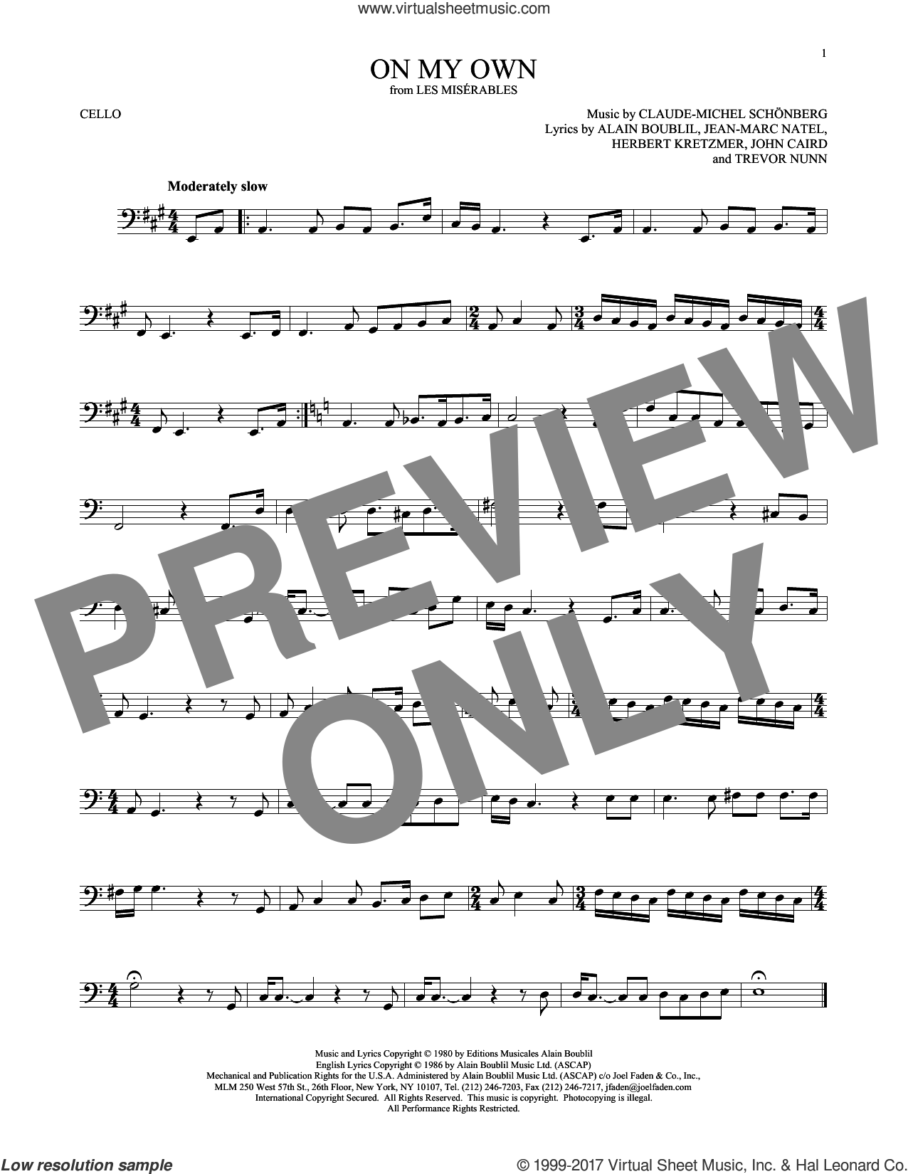 On My Own (from Les Miserables) sheet music for cello solo by Alain Boublil, Claude-Michel Schonberg, Claude-Michel Schonberg, Herbert Kretzmer, Jean-Marc Natel, John Caird and Trevor Nunn, intermediate skill level