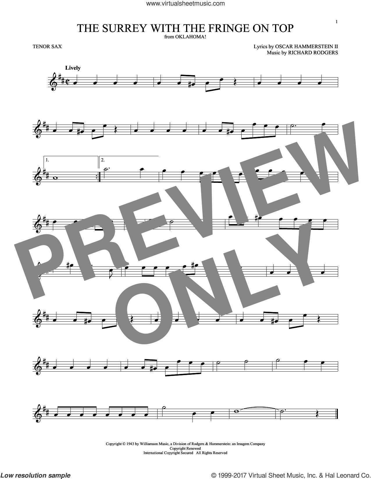 The Surrey With The Fringe On Top sheet music for tenor saxophone solo by Rodgers & Hammerstein, Oscar II Hammerstein and Richard Rodgers, intermediate. Score Image Preview.