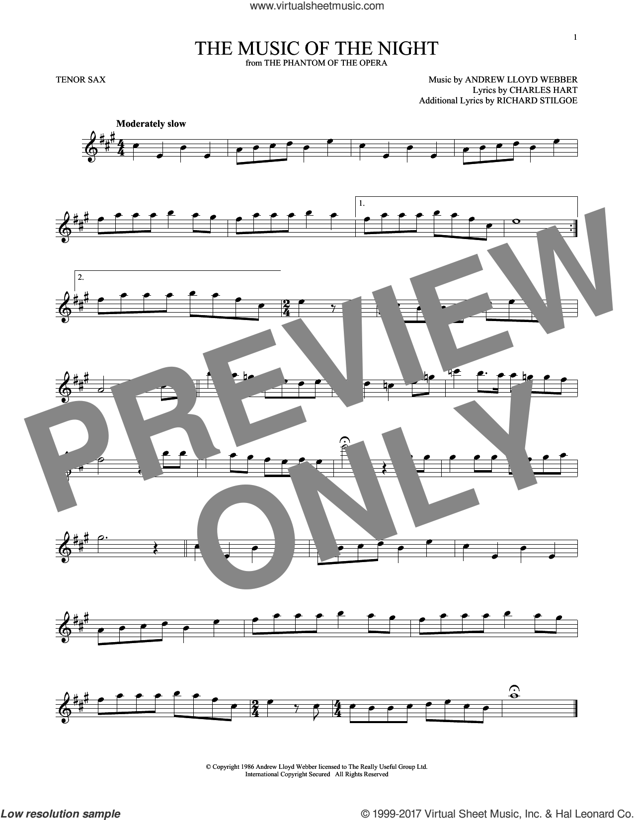The Music Of The Night (from The Phantom Of The Opera) sheet music for tenor saxophone solo by Andrew Lloyd Webber, David Cook, Charles Hart and Richard Stilgoe, intermediate skill level