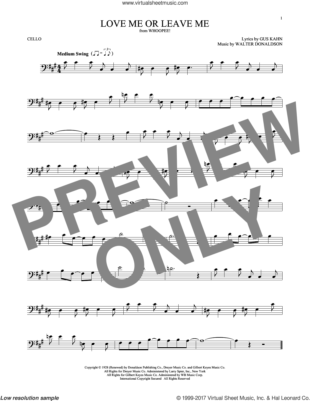 Love Me Or Leave Me sheet music for cello solo by Gus Kahn, Dave Pell and Walter Donaldson, intermediate skill level